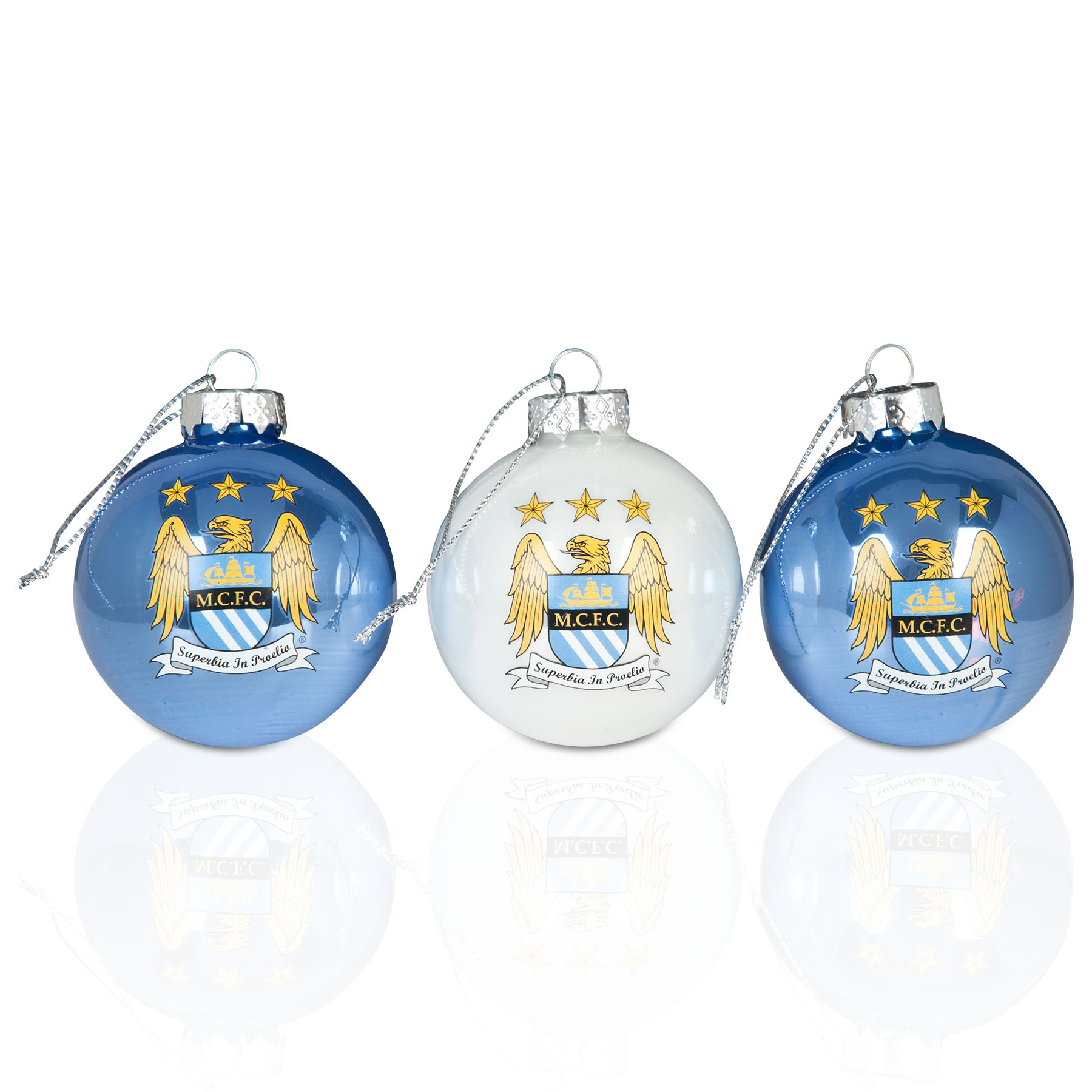 Manchester City Pearlised Baubles 3pk
