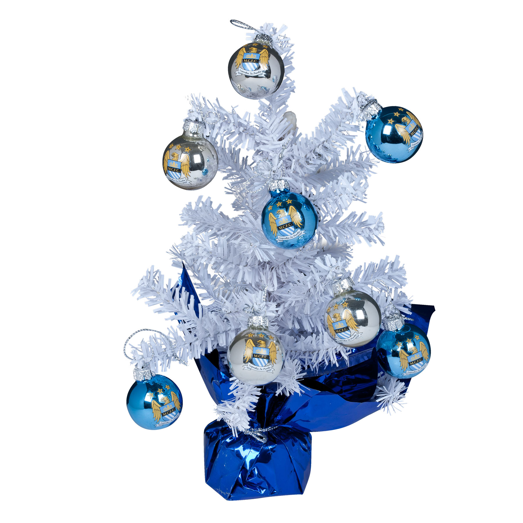 Manchester City Christmas Tree With Baubles Desk Ornament