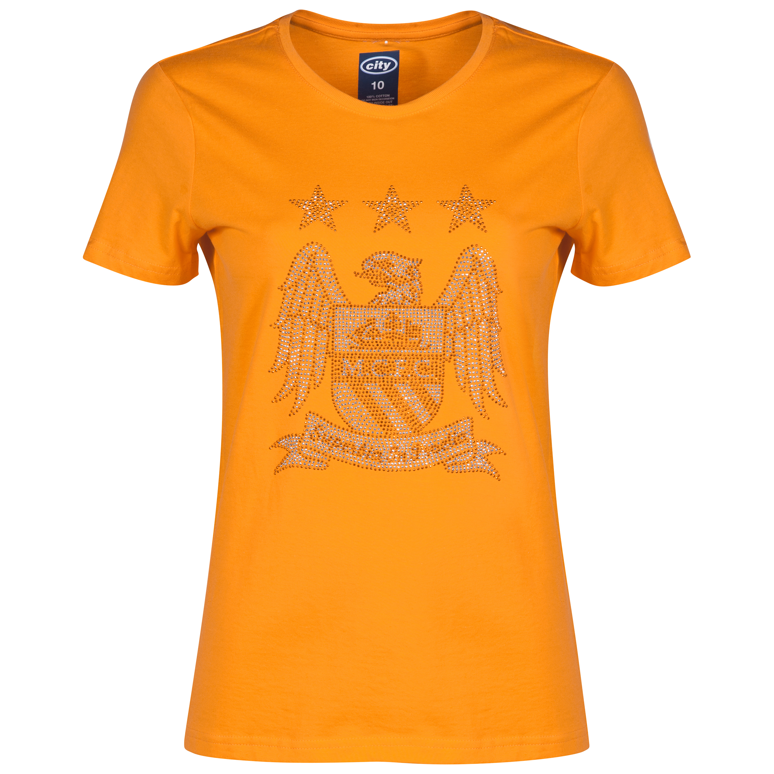 Manchester City Rhinestone T-Shirt - Orange - Womens
