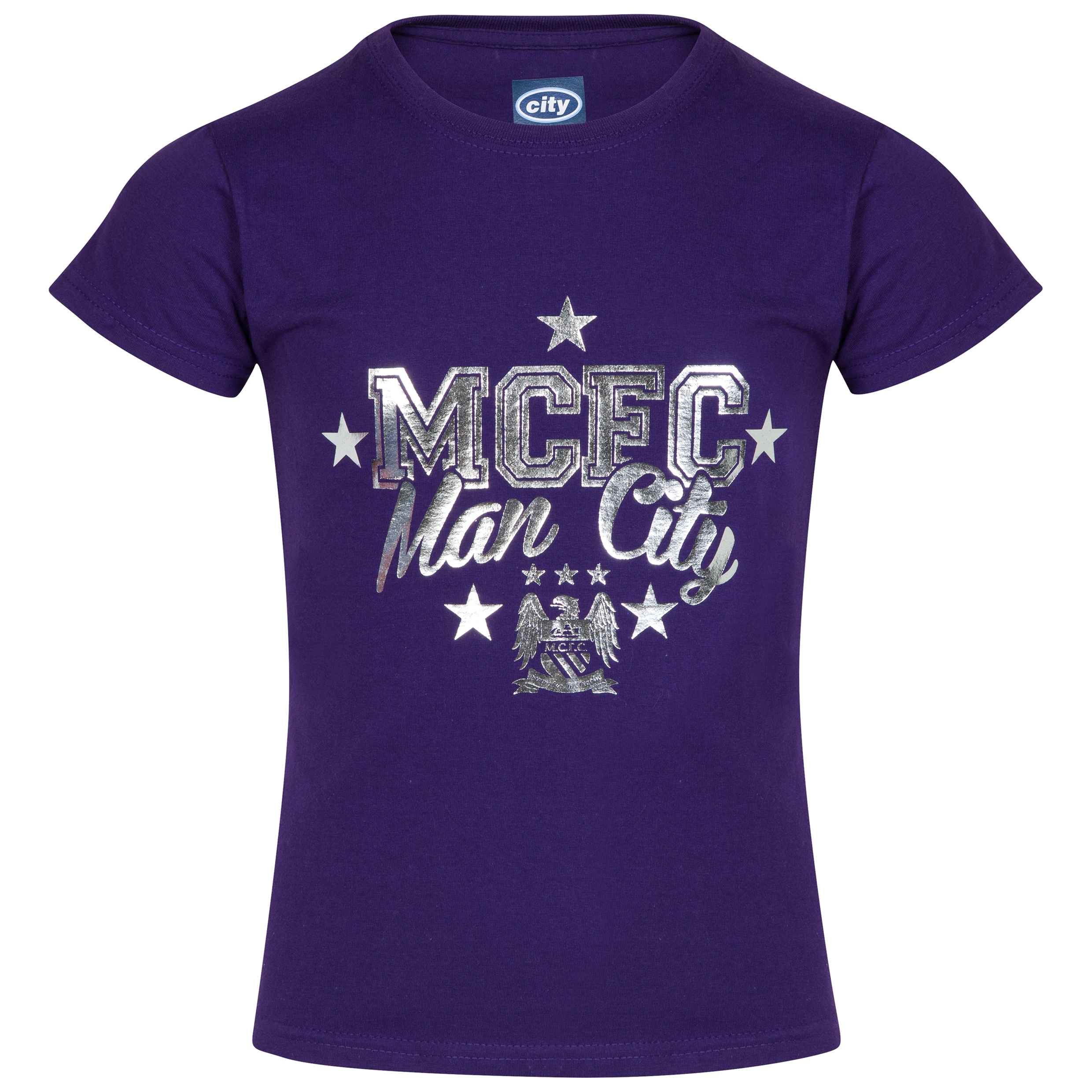Manchester City Foil T-Shirt - Purple - Girls