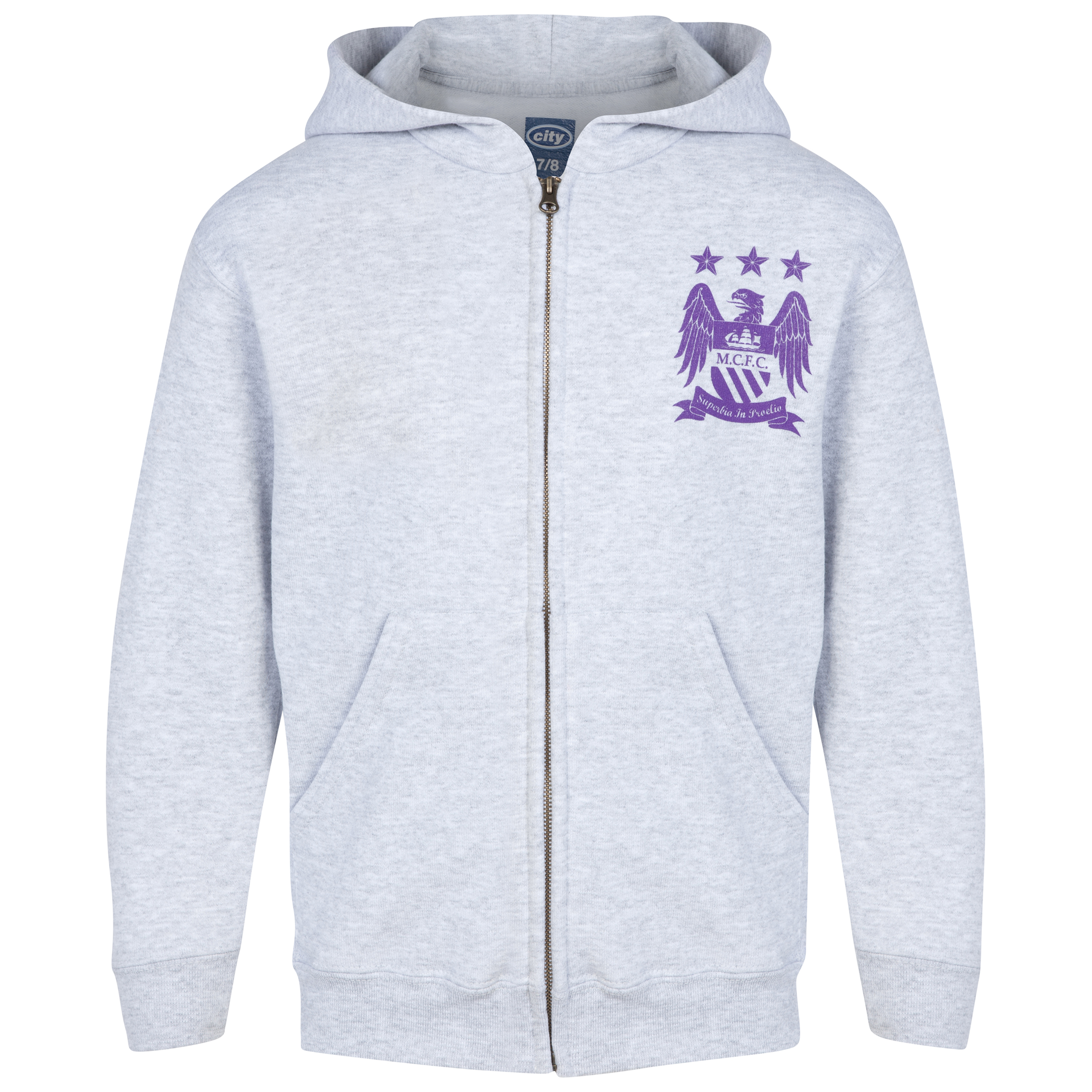 Manchester City Print Hoodie - Heather Grey - Girls