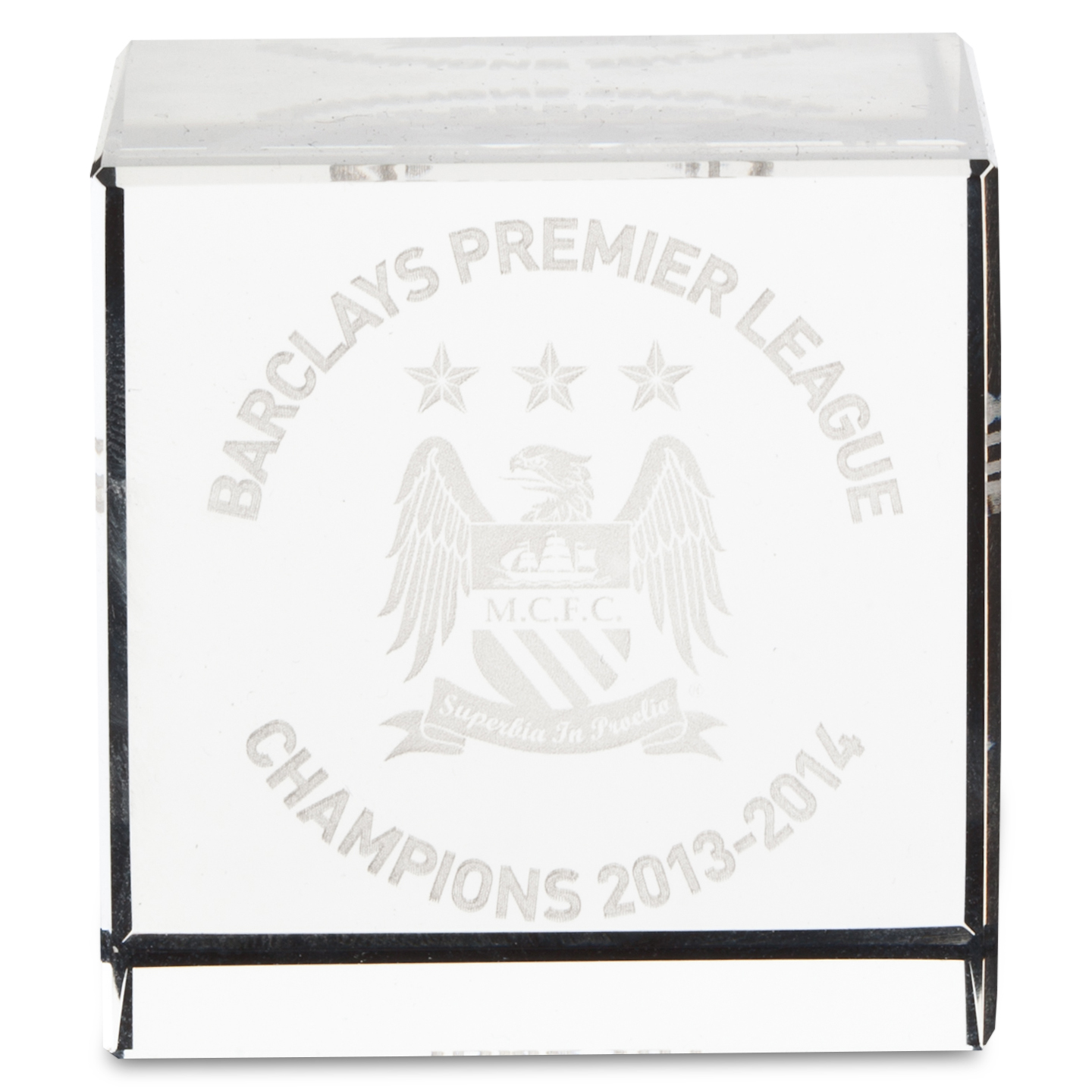 Manchester City Champions #Together Crystal Cube 50x50x50mm