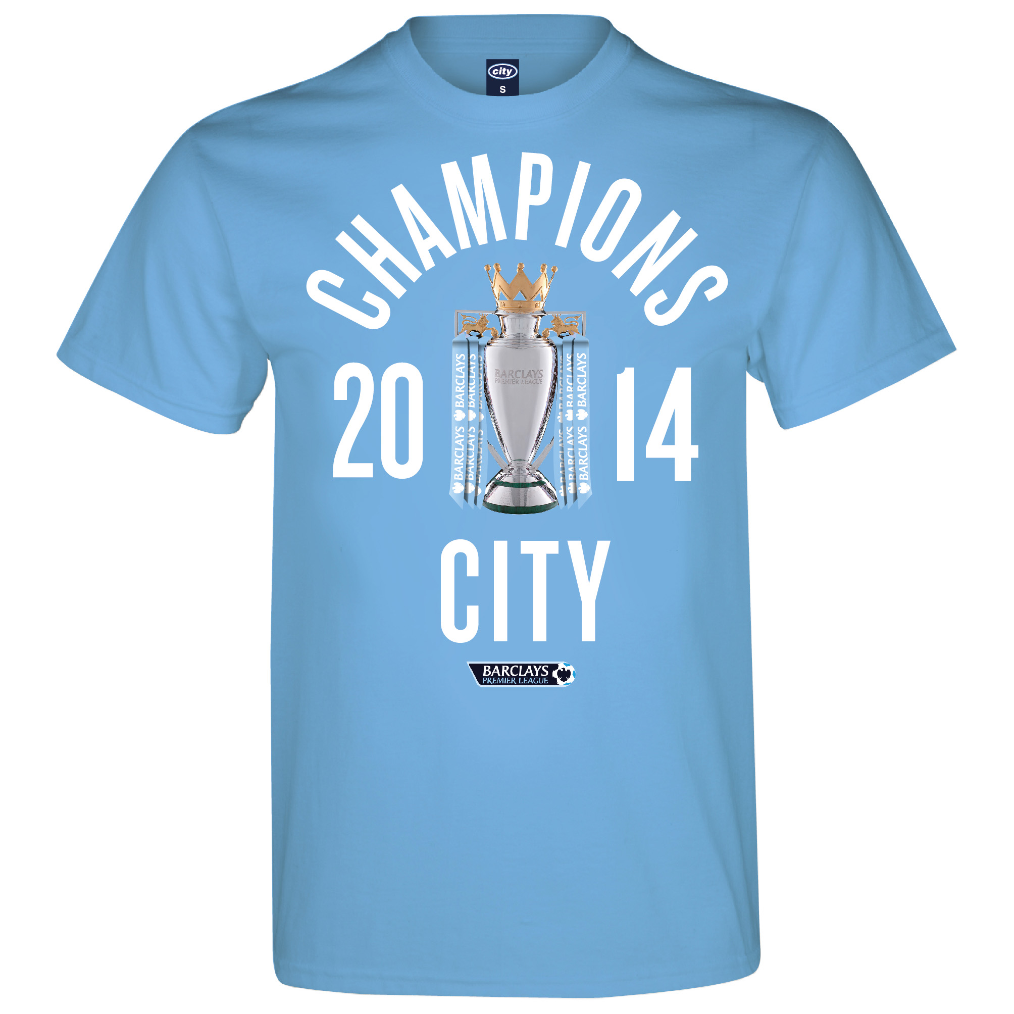 Manchester City 2013/14 Premier league Winners T-Shirt - Sky - Mens
