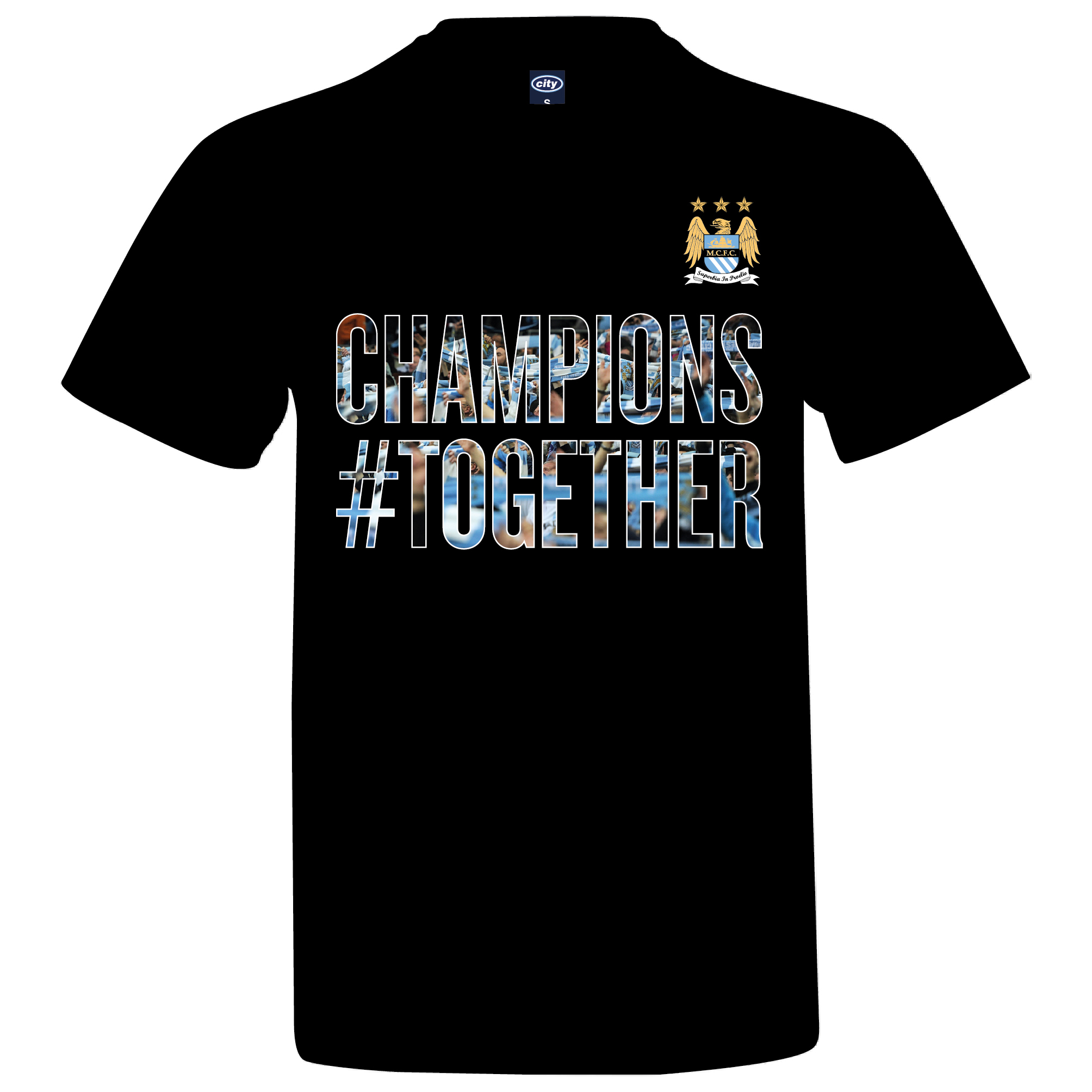 Manchester City 2013/14 Premier league Winners T-Shirt - Black- Mens