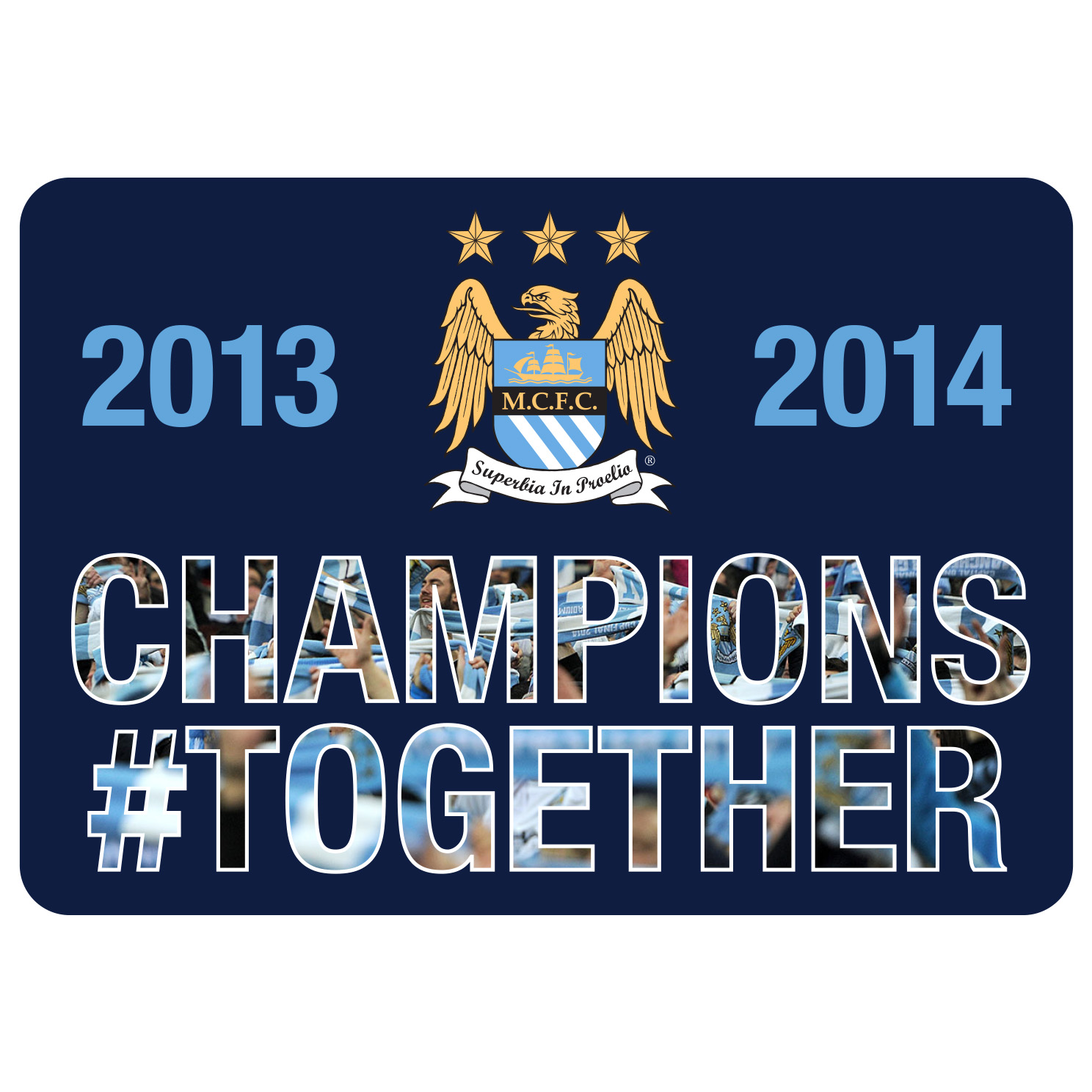 Manchester City Champions #Together Car Sticker