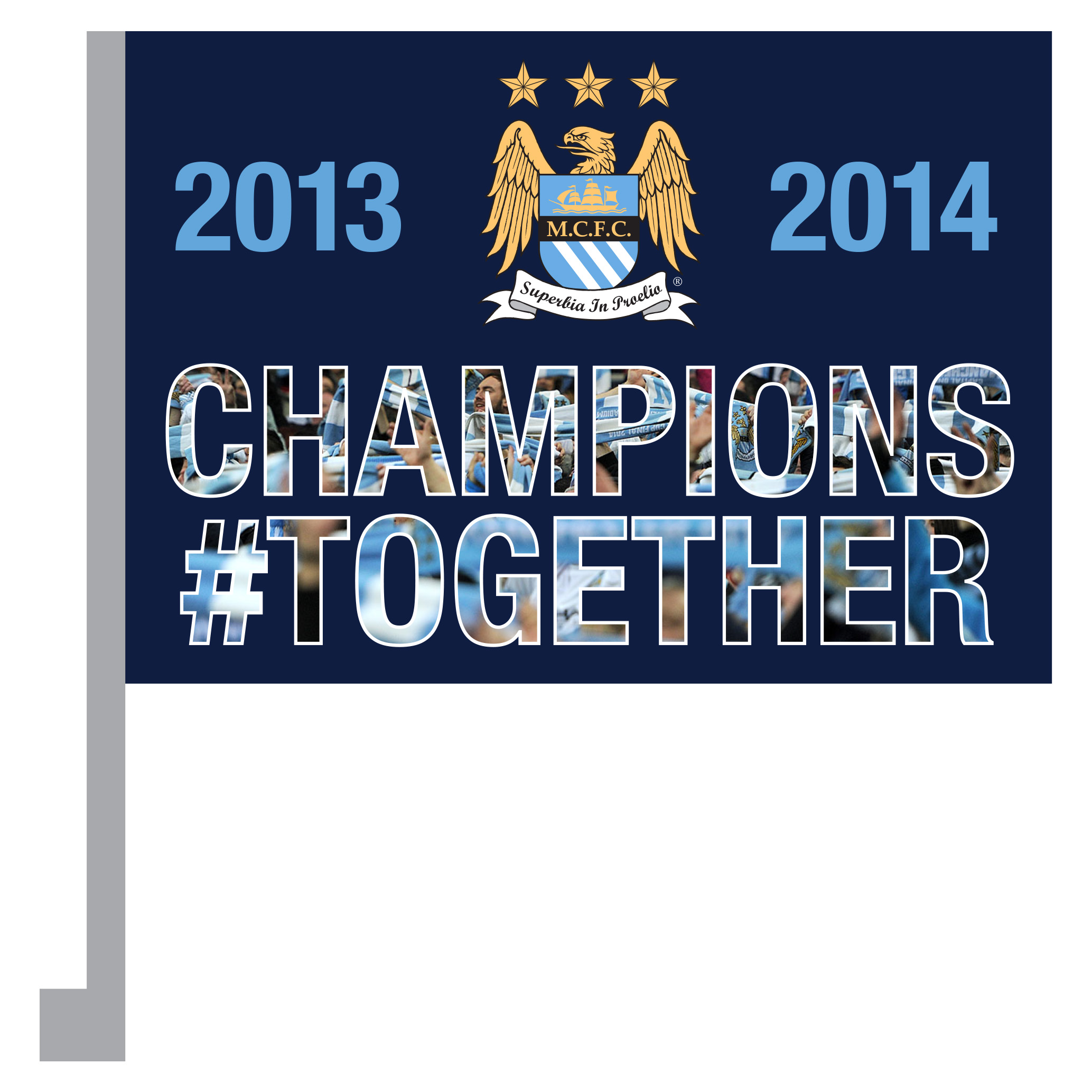 Manchester City Champions #Together Car Flag