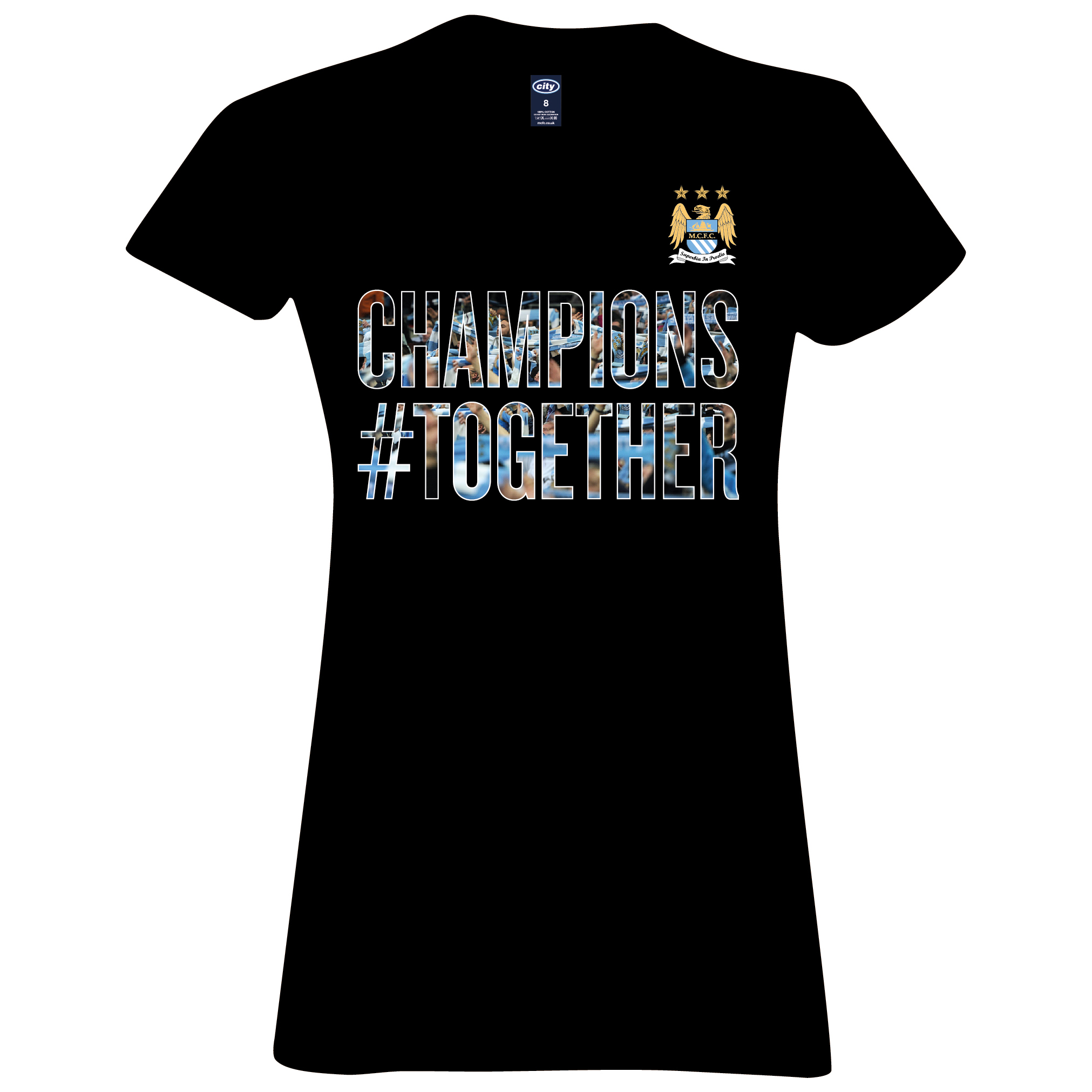 Manchester City 2013/14 Premier league Winners T-Shirt - Black- Womens