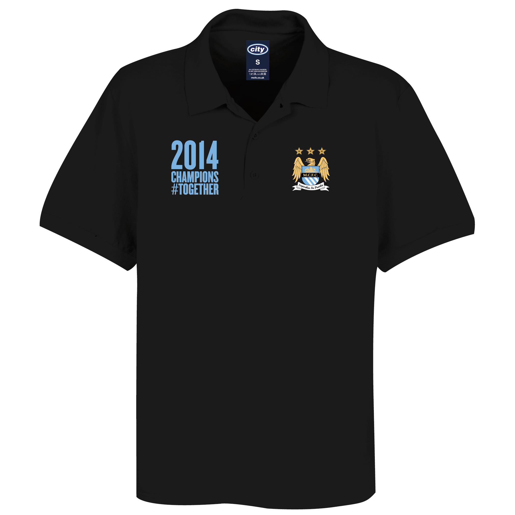 Manchester City 2013/14 Premier league Winners Polo Shirt- Black - Mens