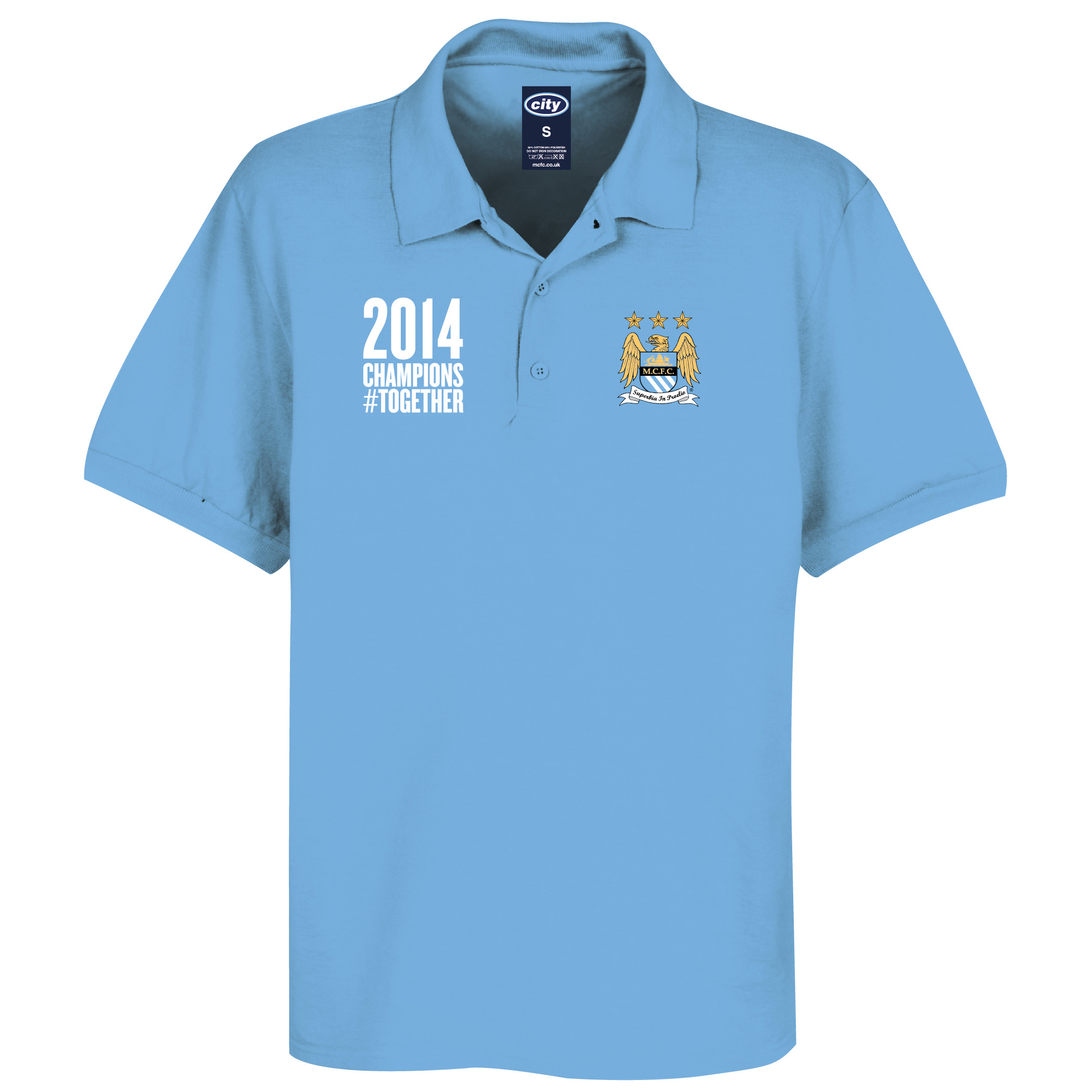 Manchester City 2013/14 Premier league Winners Polo Shirt- Sky - Mens