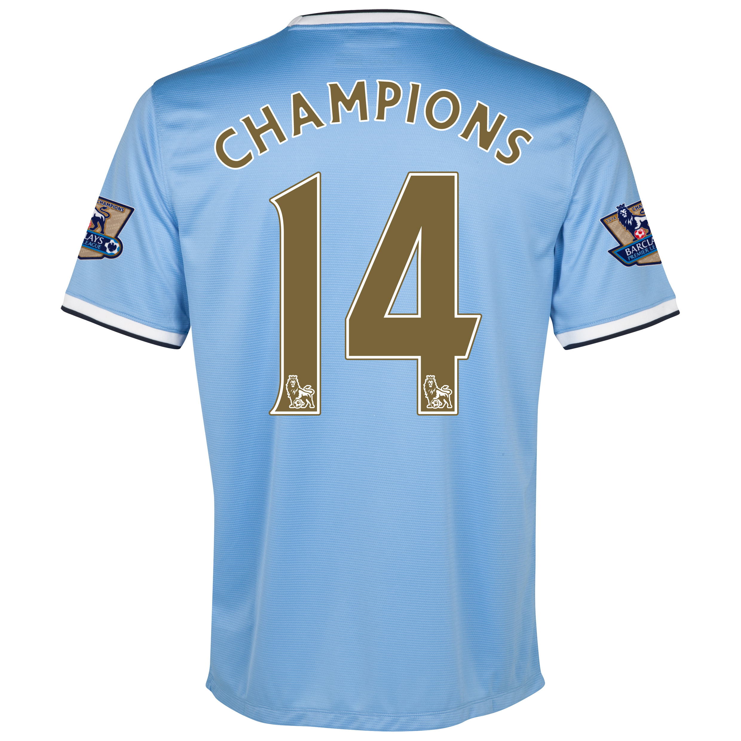 Manchester City Home Shirt 2013/14 with Champions 14 printing including Champions Badges