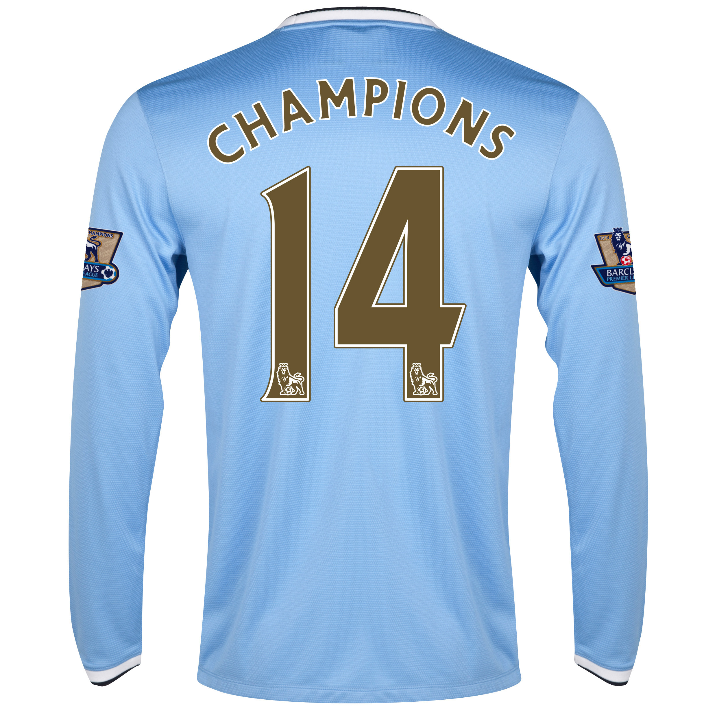 Manchester City Home Shirt 2013/14 with Champions 14 Print including Champions Badges - L/S