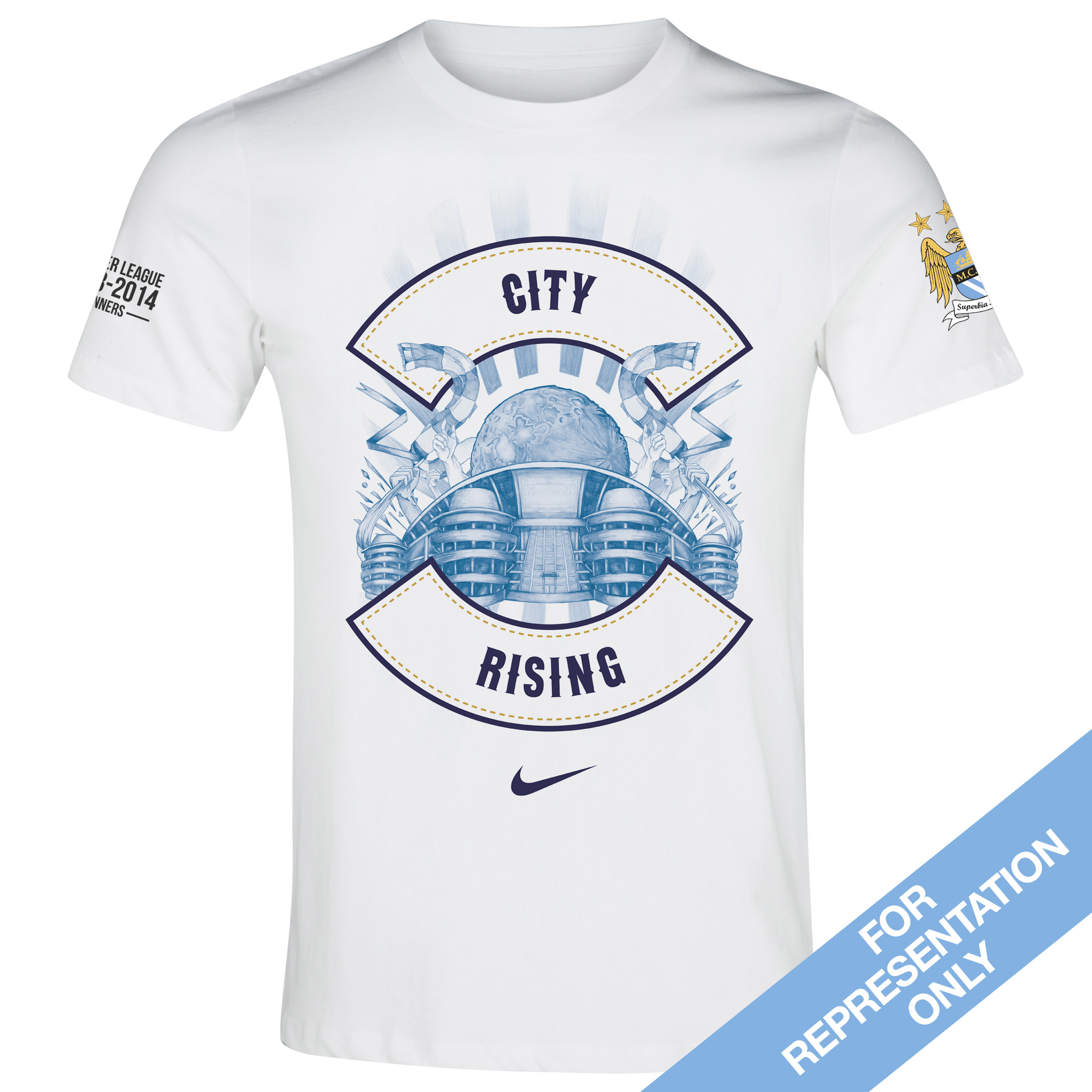 Manchester City Premier League Winners 2014 T-Shirt White