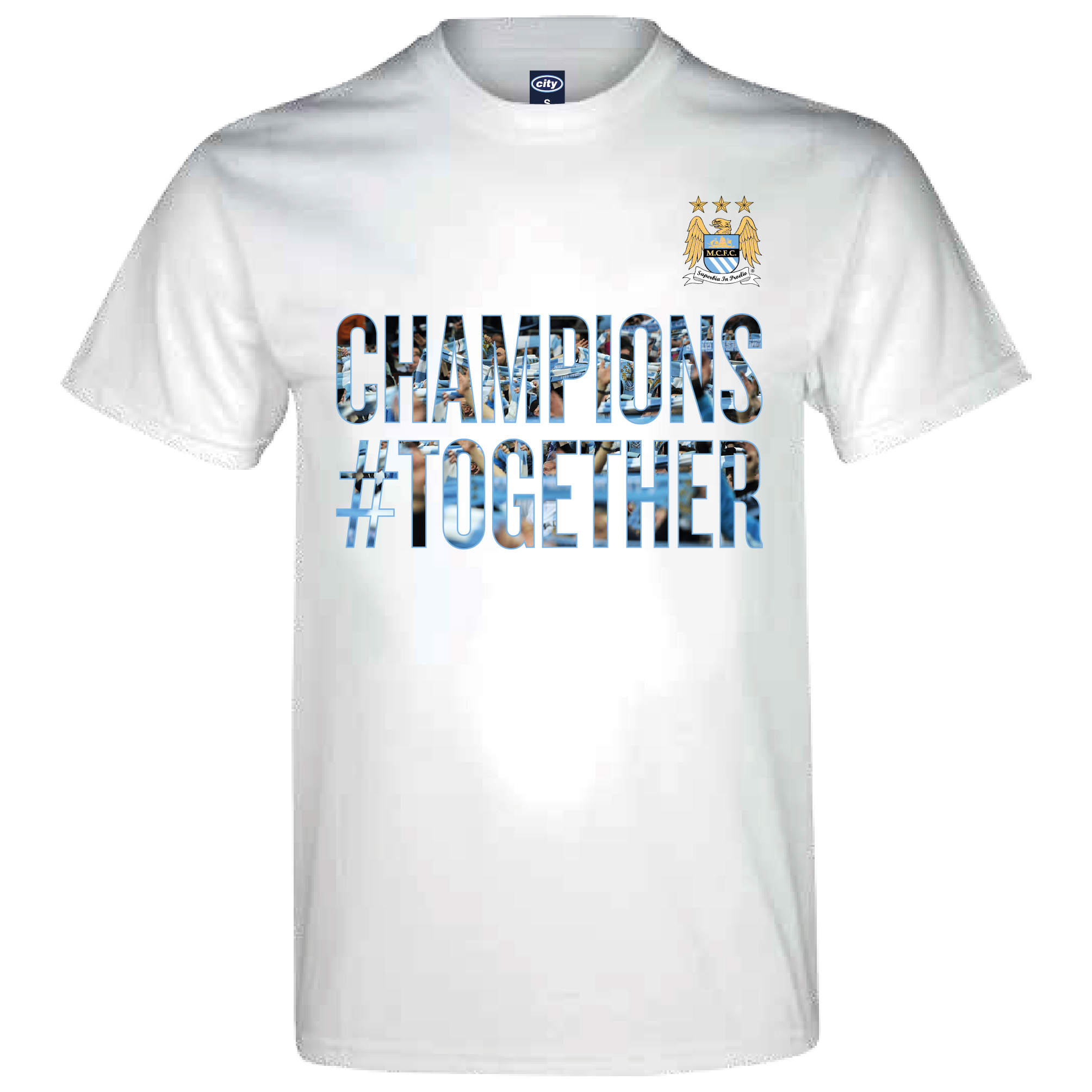 Manchester City 2013/14 Premier league Winners T-Shirt - White- Mens