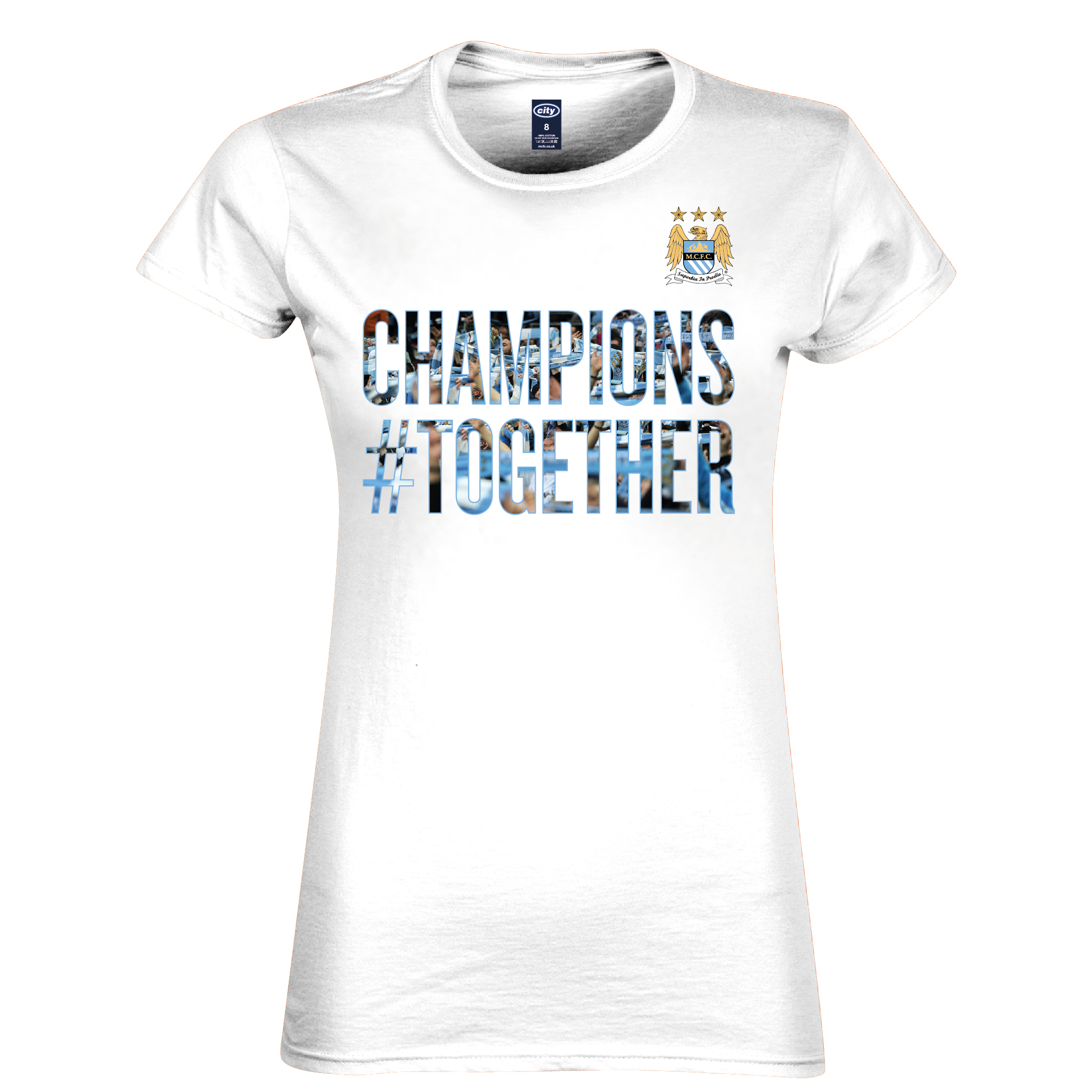 Manchester City 2013/14 Premier league Winners T-Shirt - White- Womens