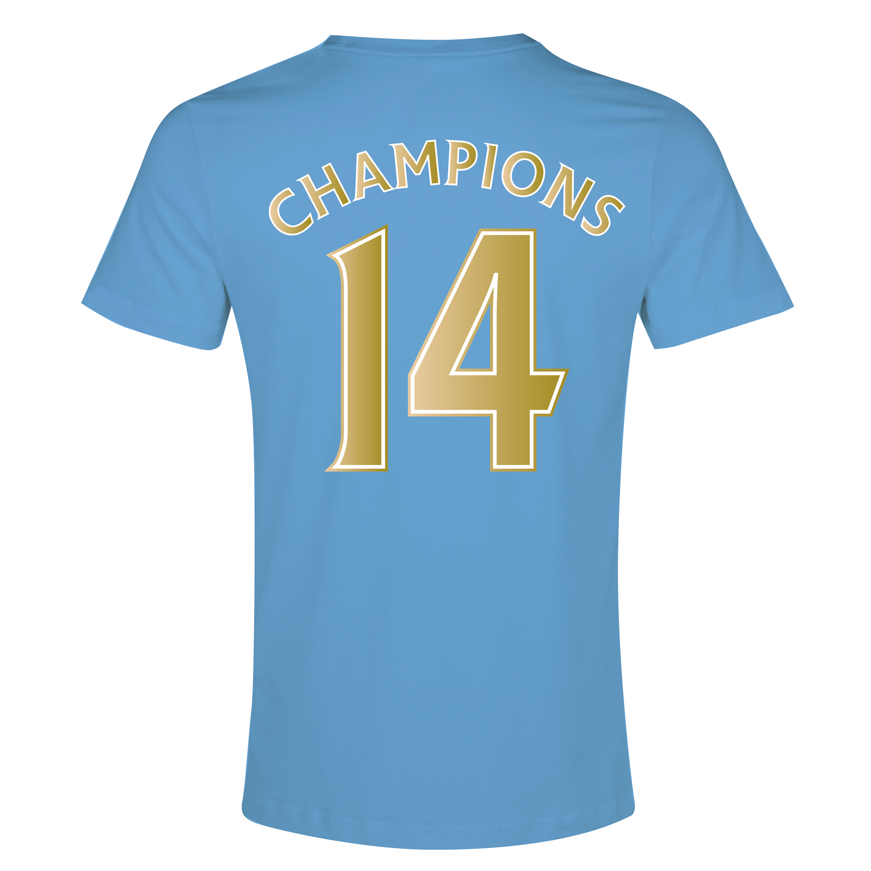 Manchester City 2013/14 Premier league Winners Poly T-Shirt - Sky - Junior