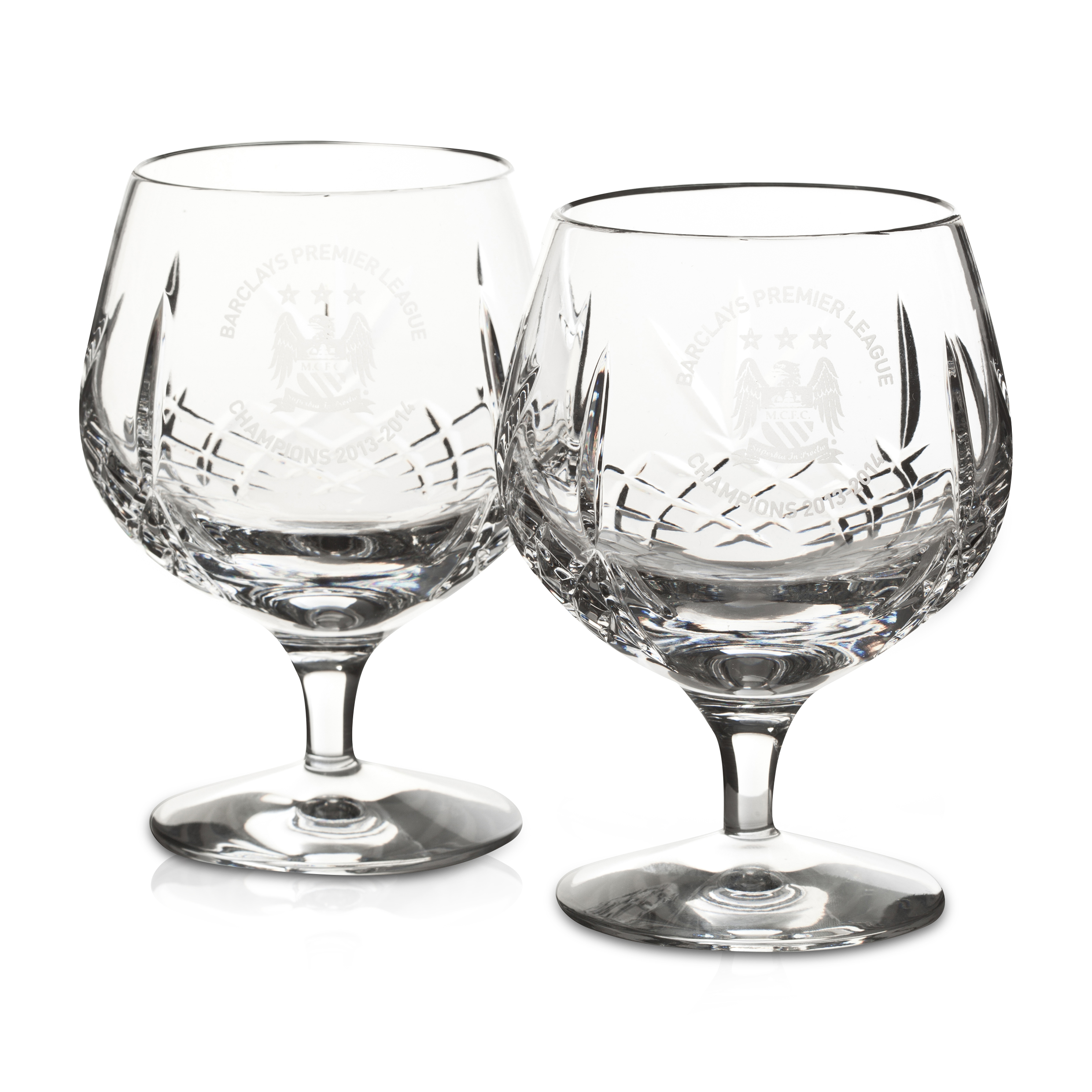 Manchester City Champions #Together Crystal Brandy Glasses