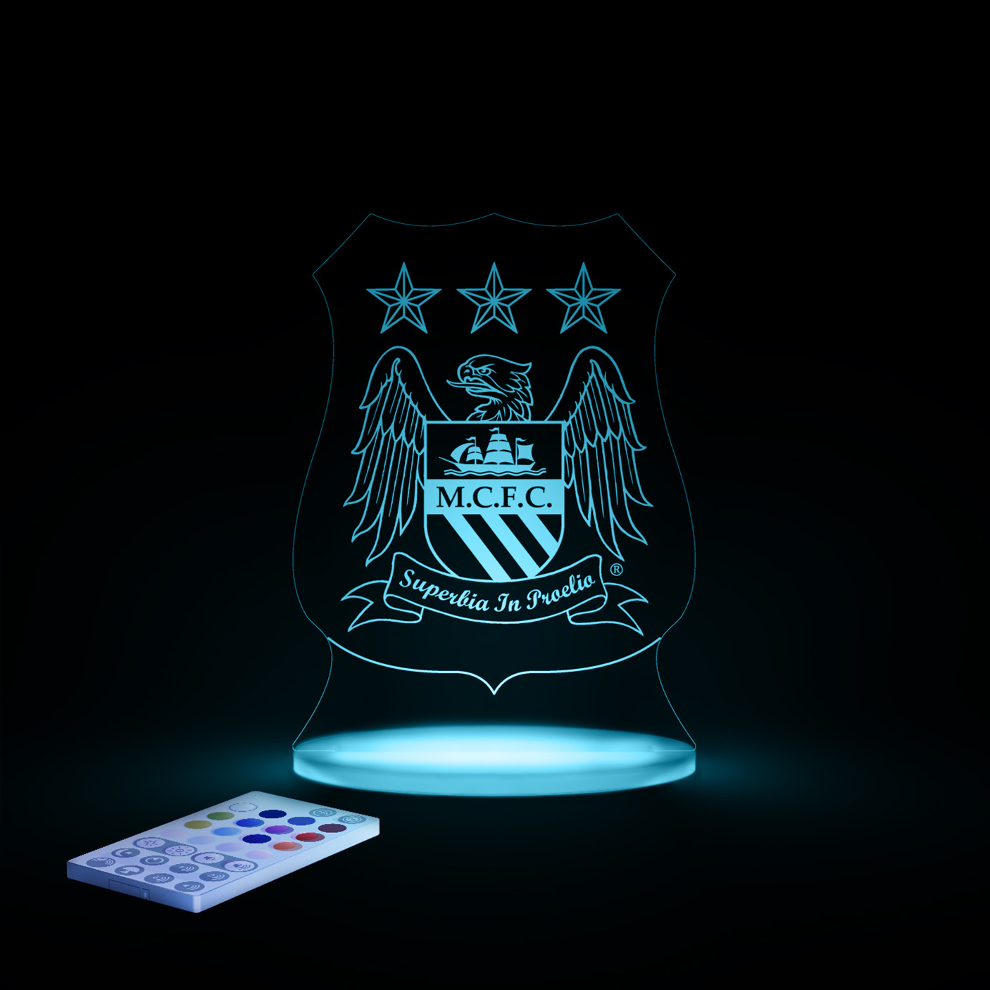 Manchester City USB LED Crest Light and Sound With Remote Control
