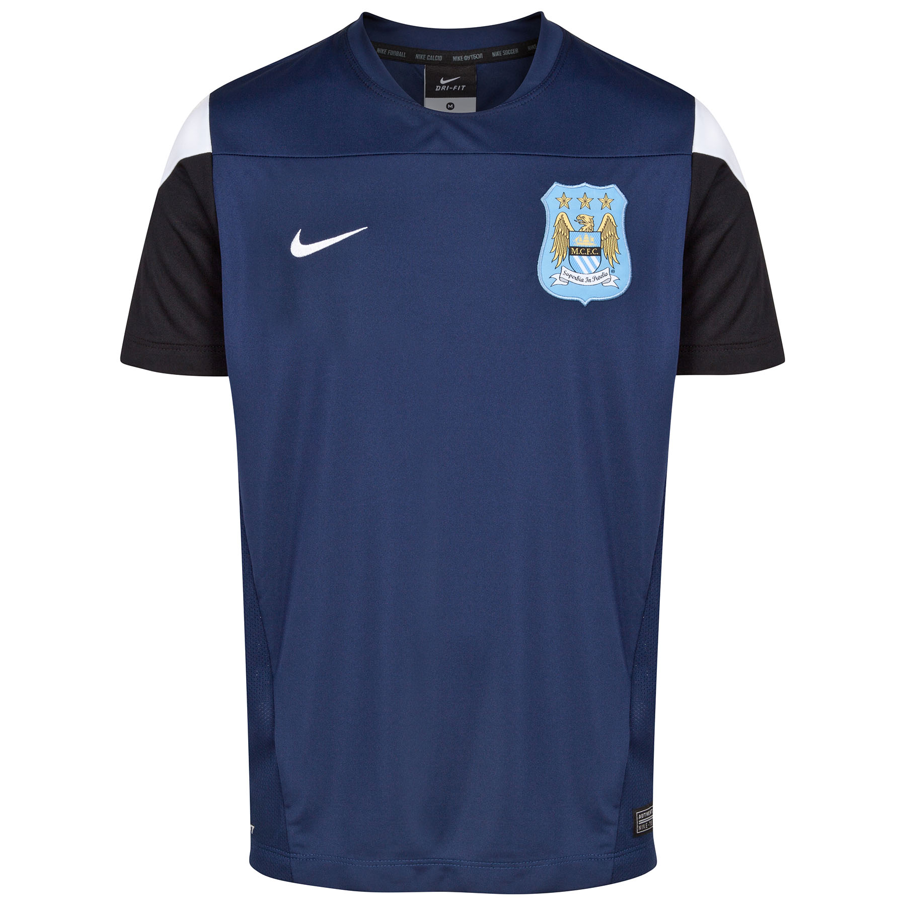 Manchester City Squad Short Sleeve Training Top-Kids Navy