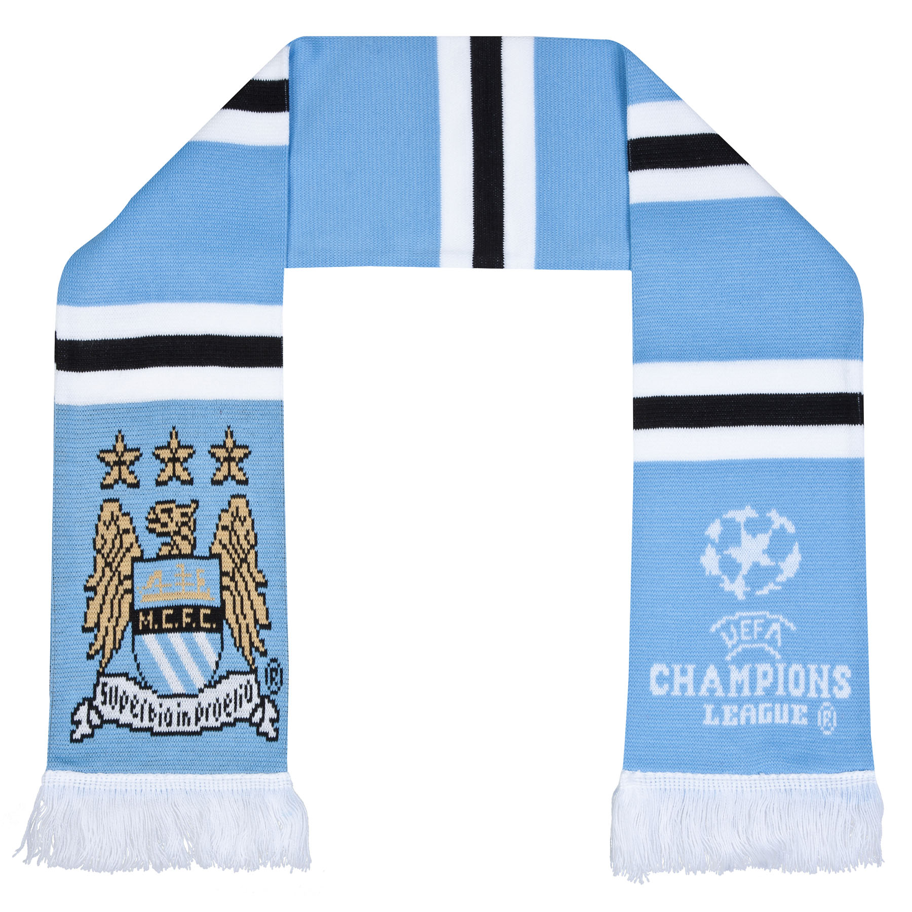 Manchester City UCL Stripe Scarf - Sky/White- Adult