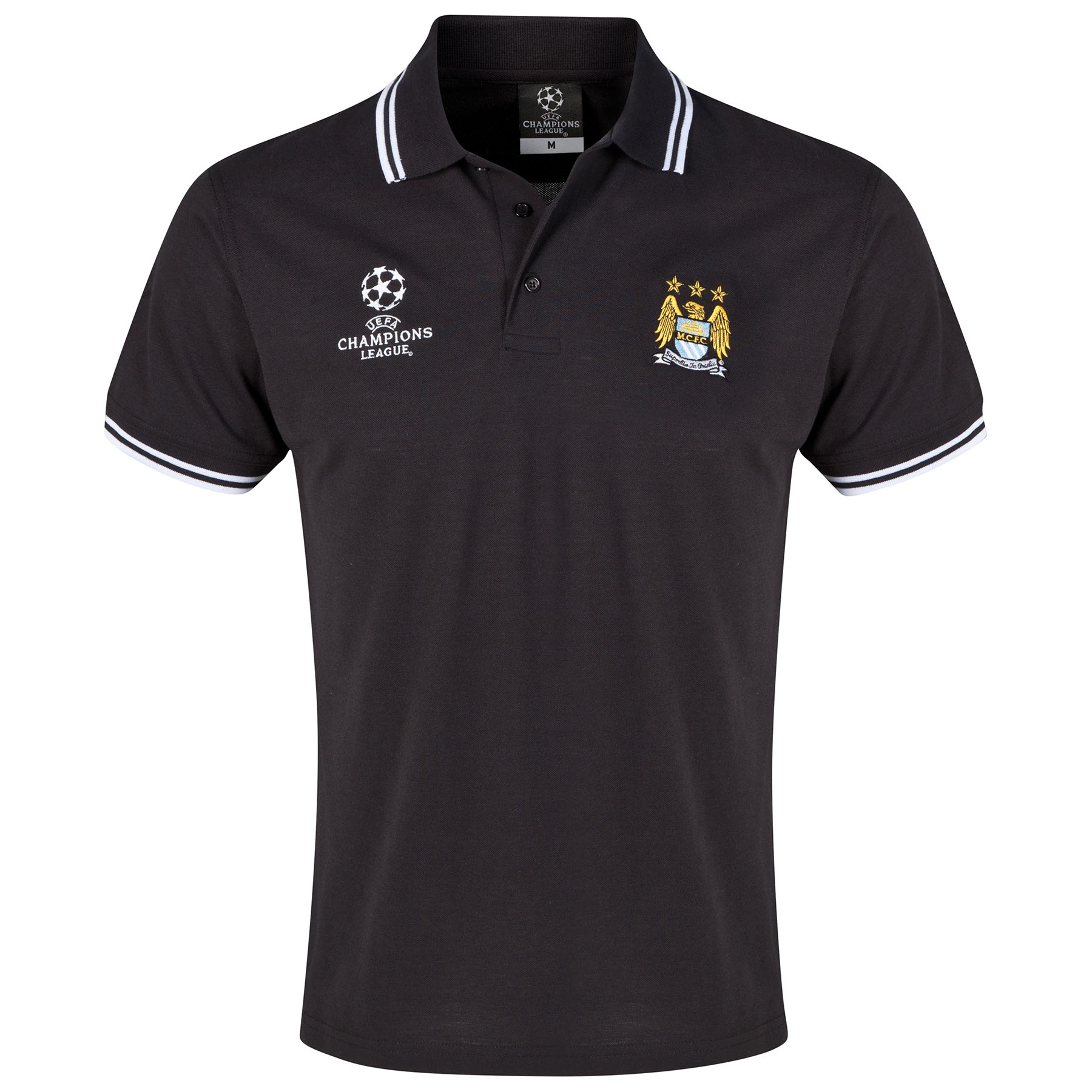Manchester City UCL Tipped Polo Shirt- Black - Mens