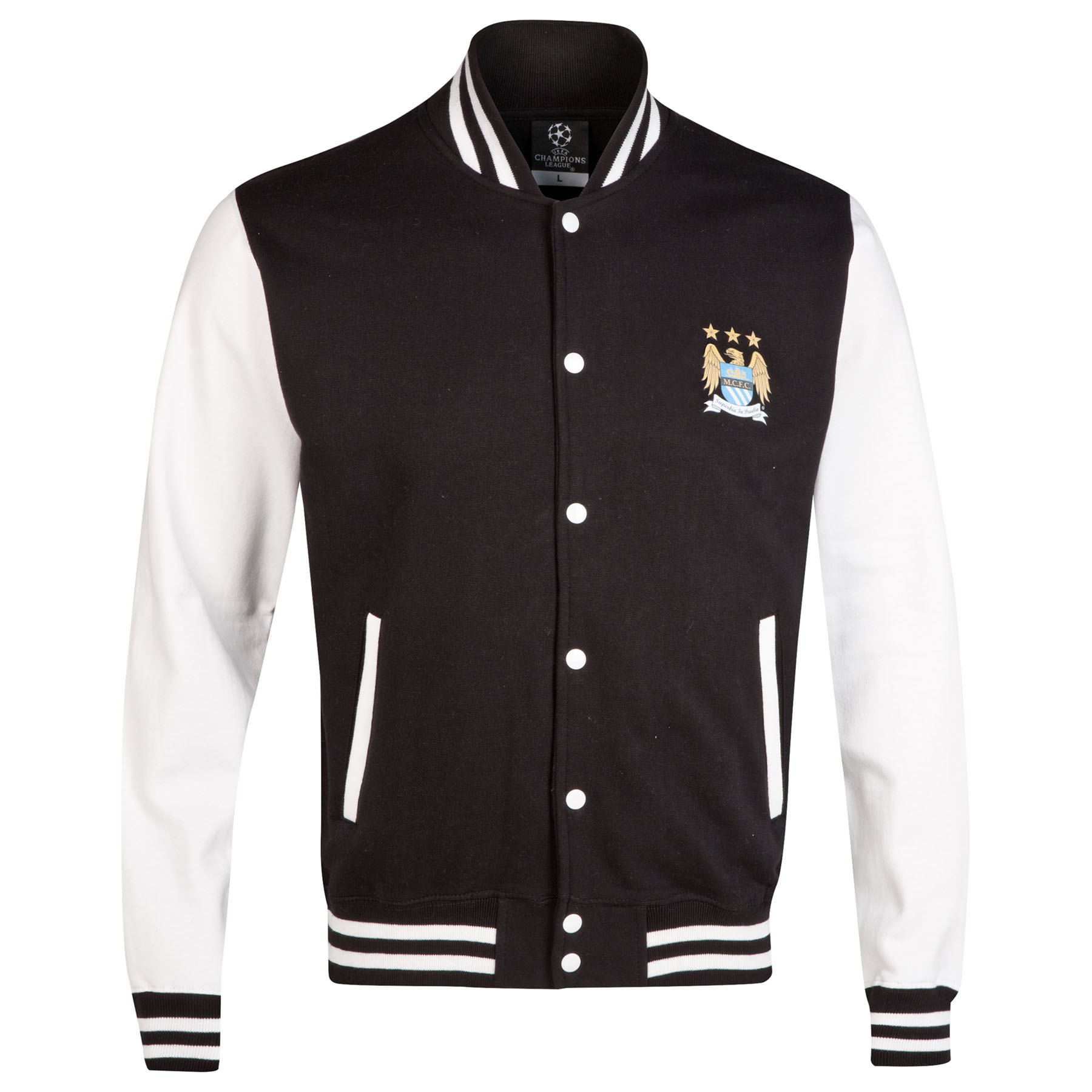 Manchester City UCL Baseball Jacket - Black/White - Mens