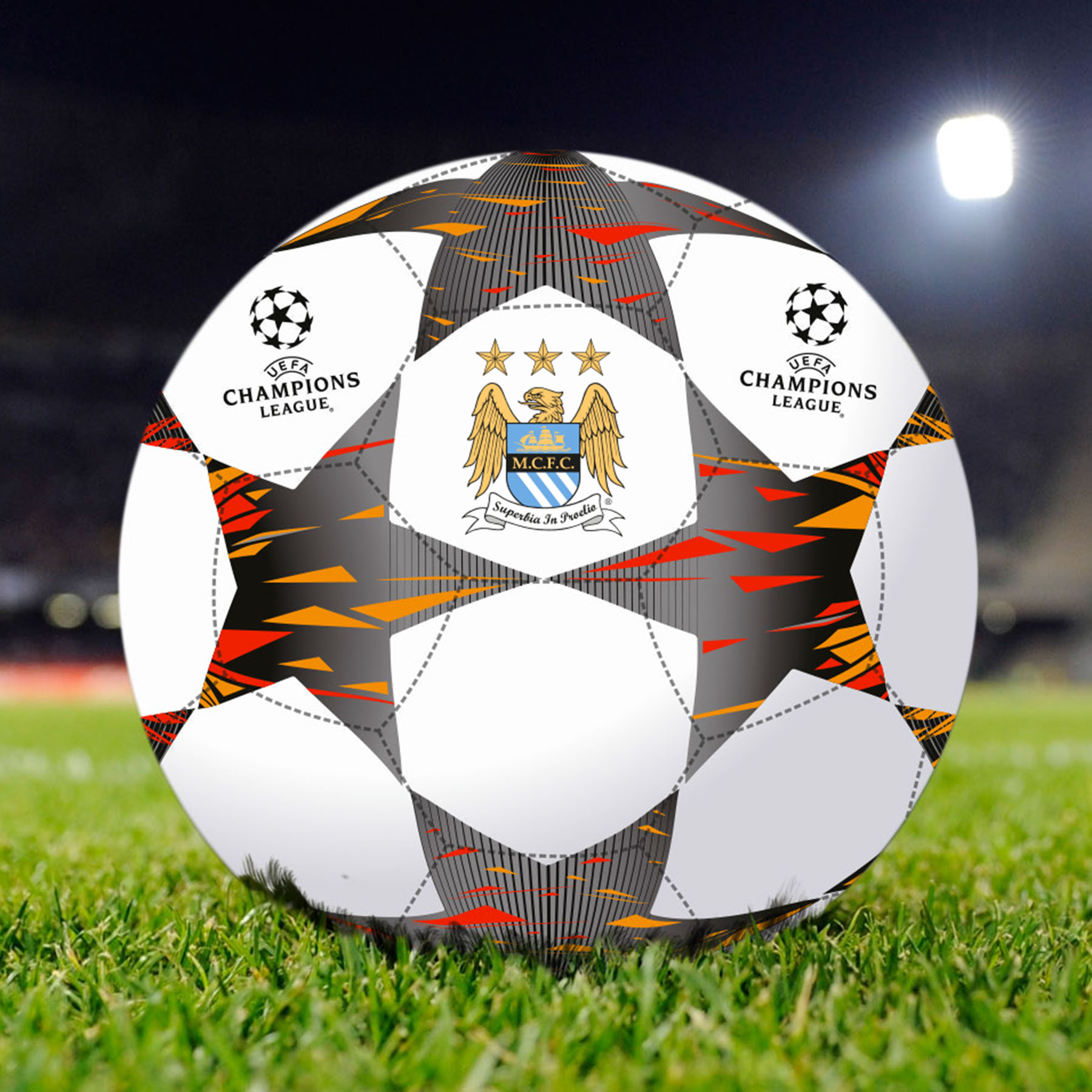 Manchester City Champions League Size 5 replica Football