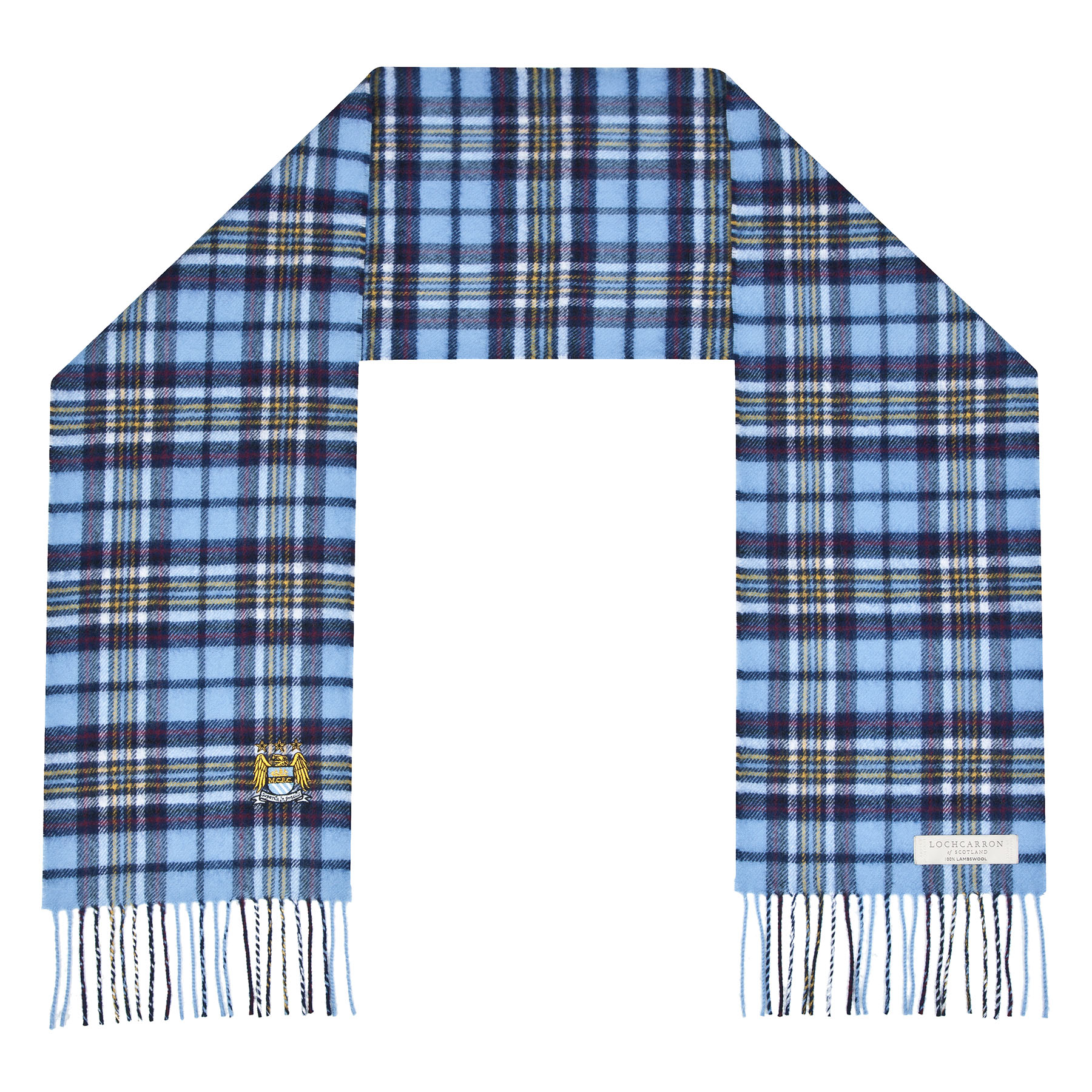 Manchester City Lambswool Official Tartan Scarf - Multi - Adult