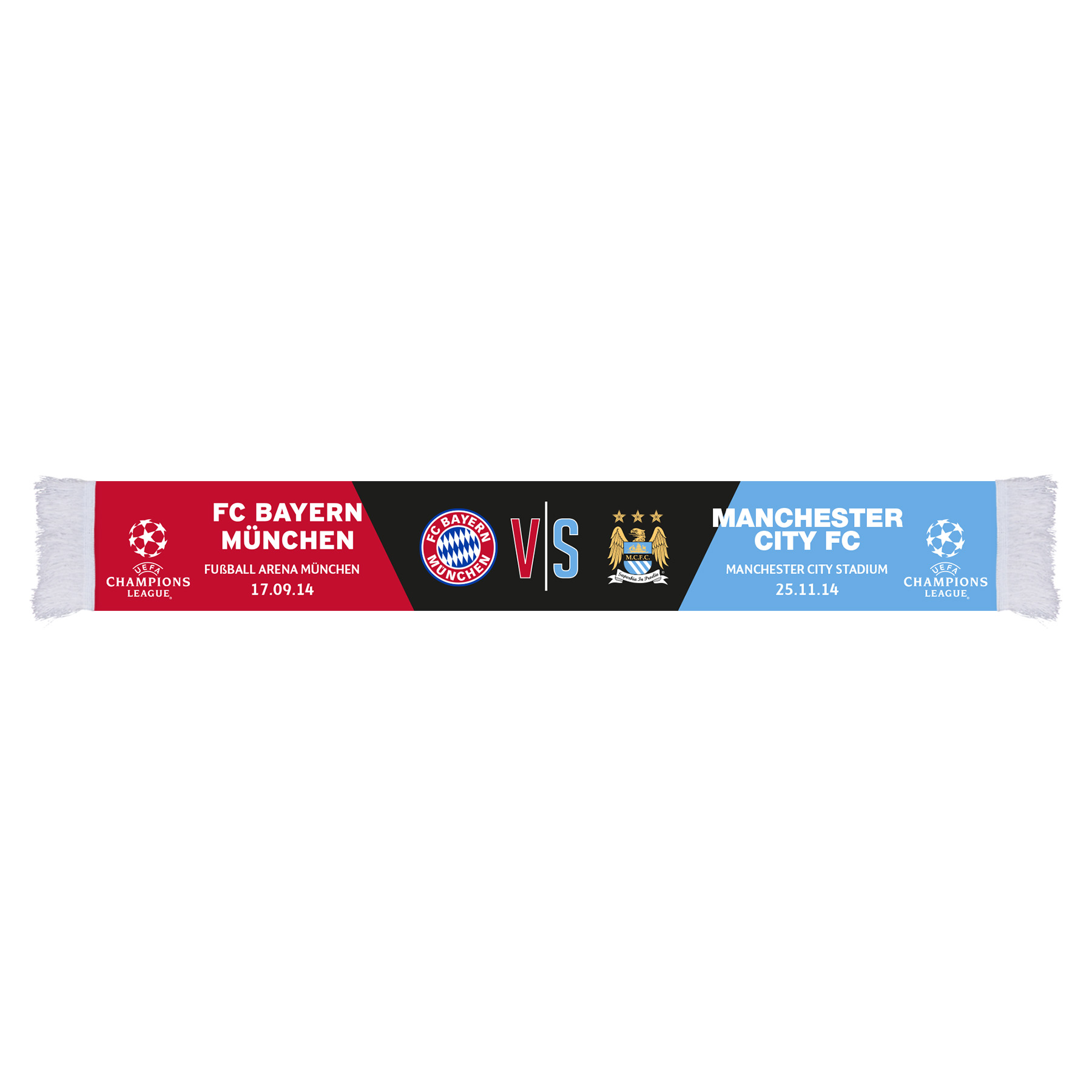 Manchester City UCL Bayern Munich Friendship Scarf - Multi- Adult