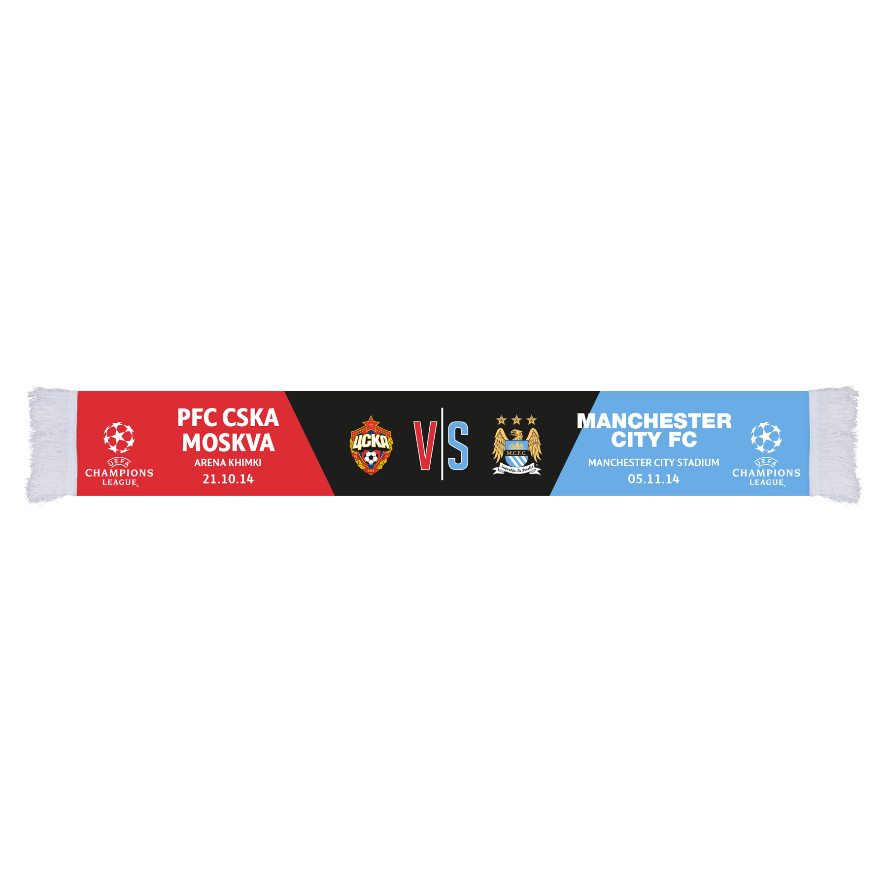 Manchester City UCL Pfc Cska Moskva Friendship Scarf - Multi - Adult