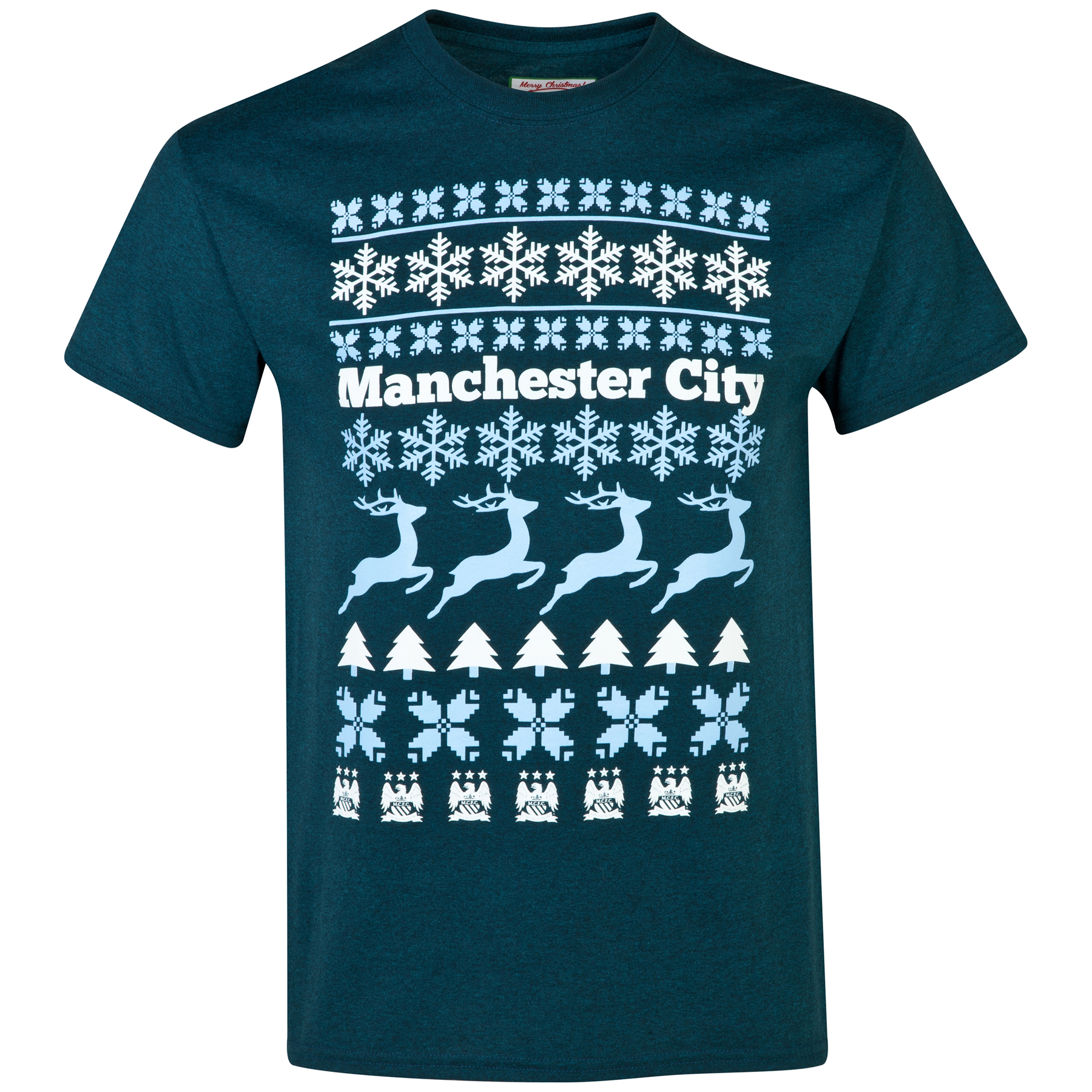 Manchester City 2 for 20 Festive T-Shirt - Heather Midnight - Mens