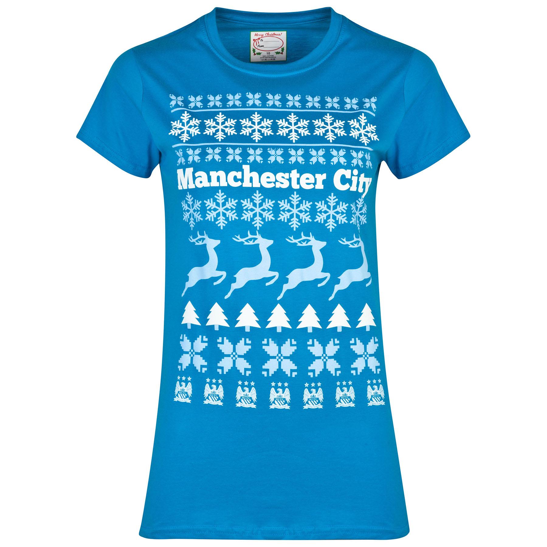 Manchester City 2for 20 Festive T-Shirt -Sapphire Blue - Womens