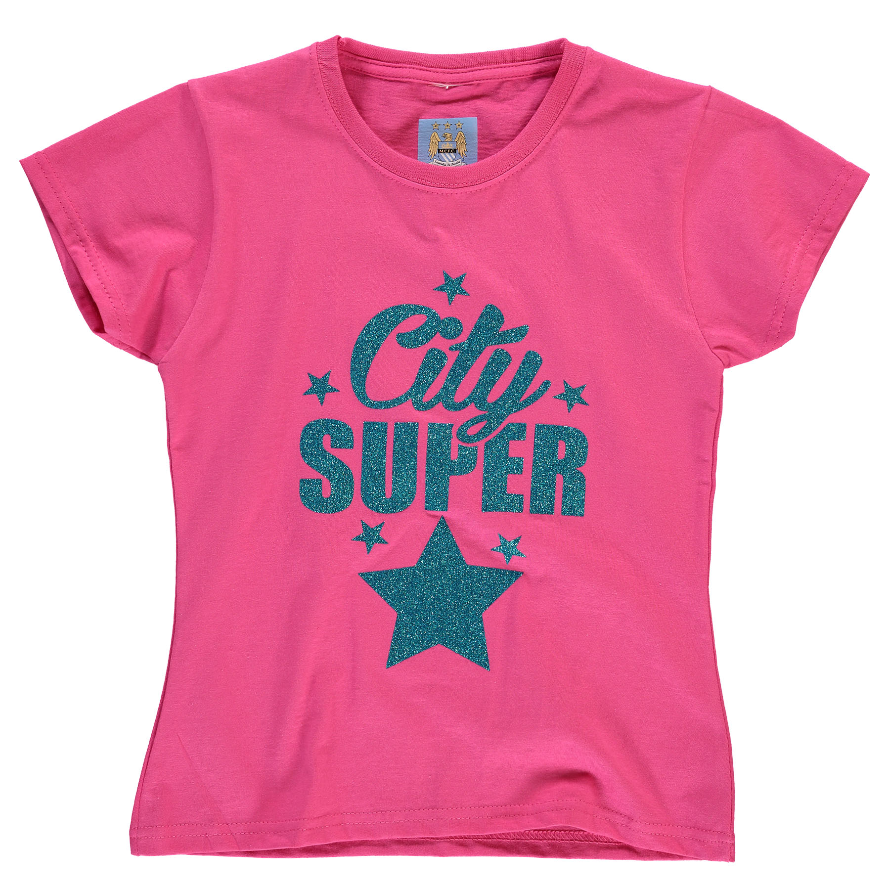 Manchester City Glitter Star T-Shirt - Pink - Junior