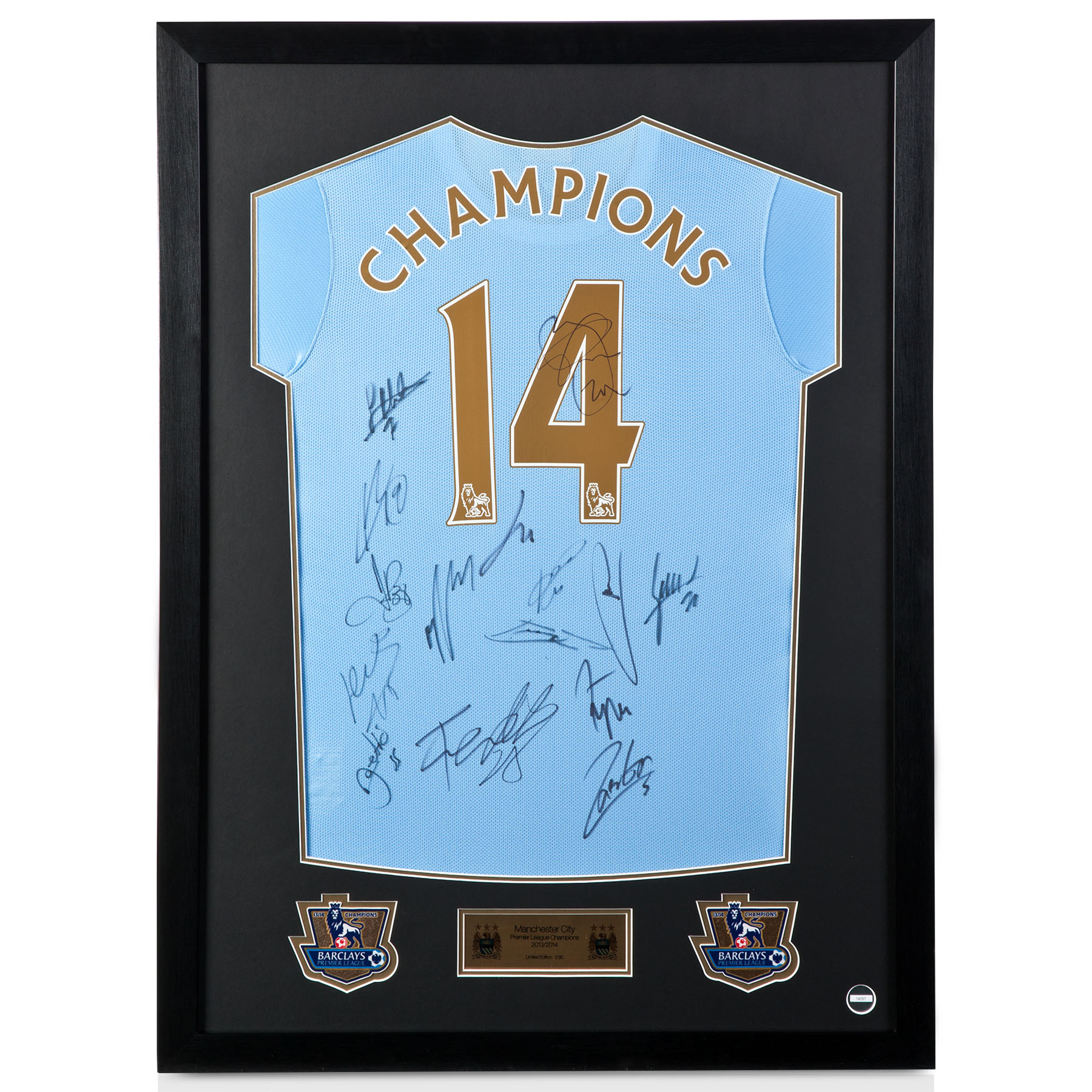 Manchester City Framed 2013/14 Signed Champions Shirt