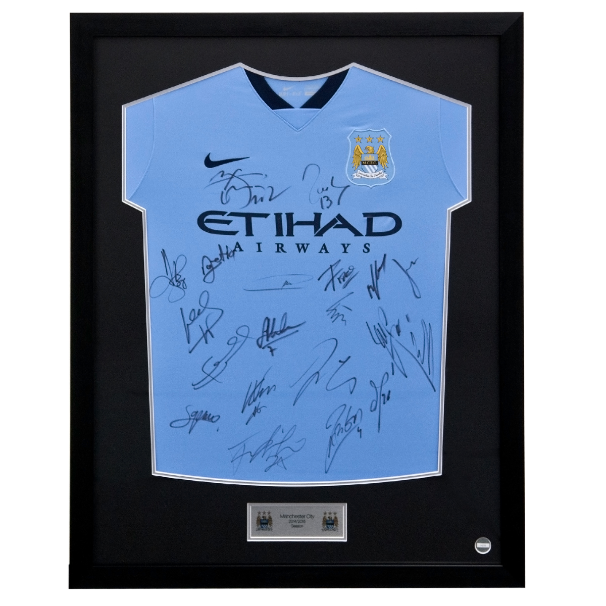 Manchester City Framed 2014/15 Home Shirt Signed - Squad