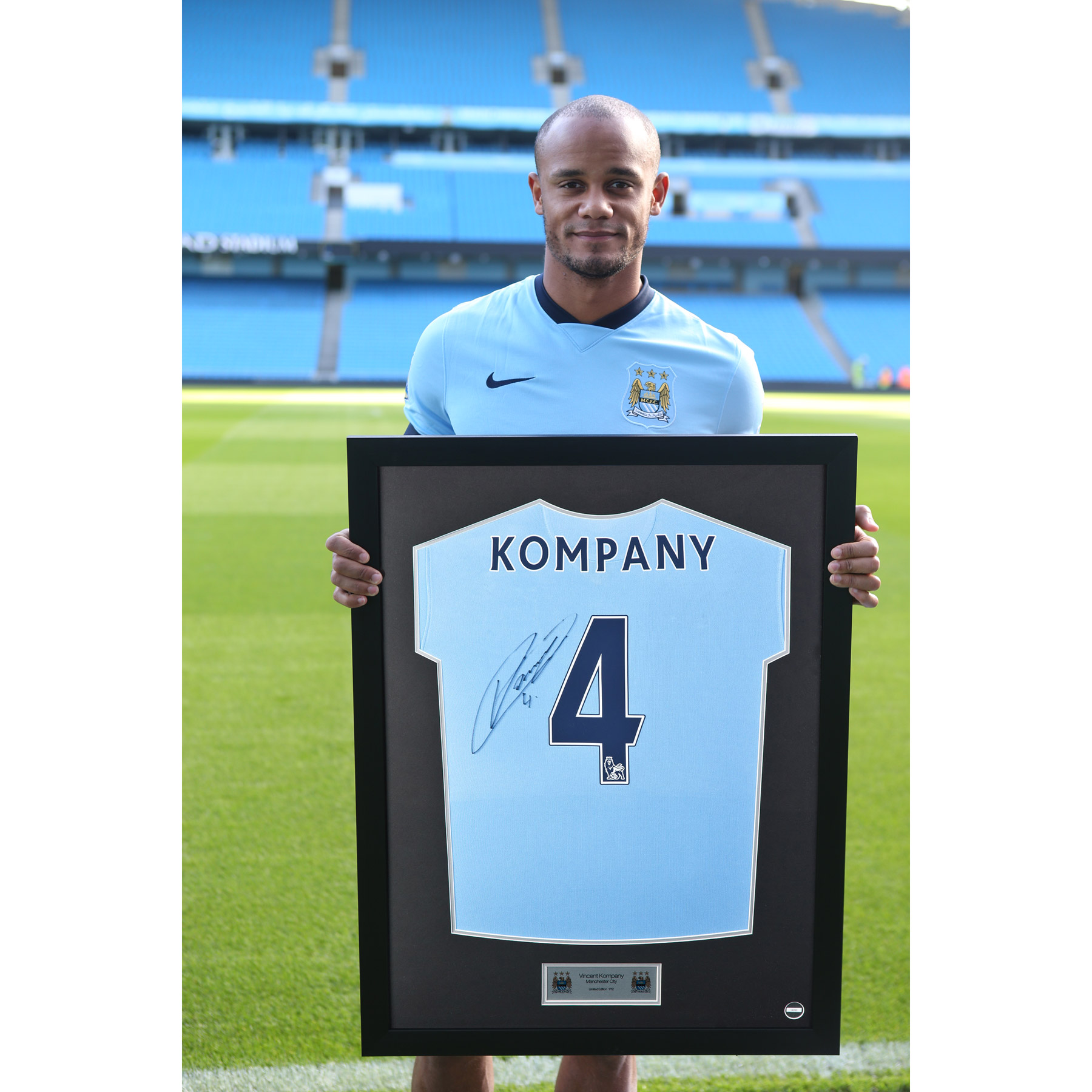 Manchester City Framed 2014/15 Home Shirt Signed - Vincent Kompany