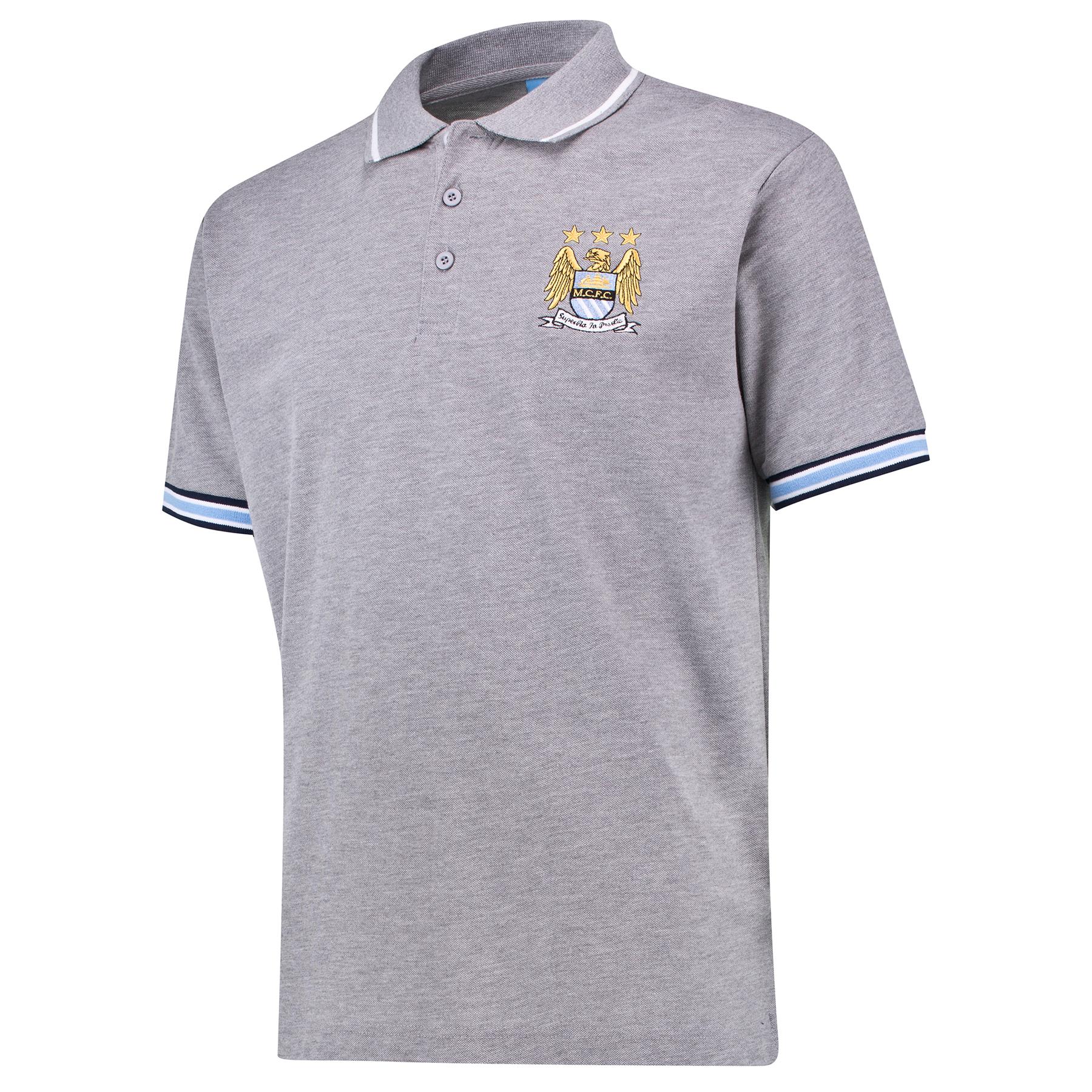 Manchester City Classic Polo Shirt - Grey Marl - Mens