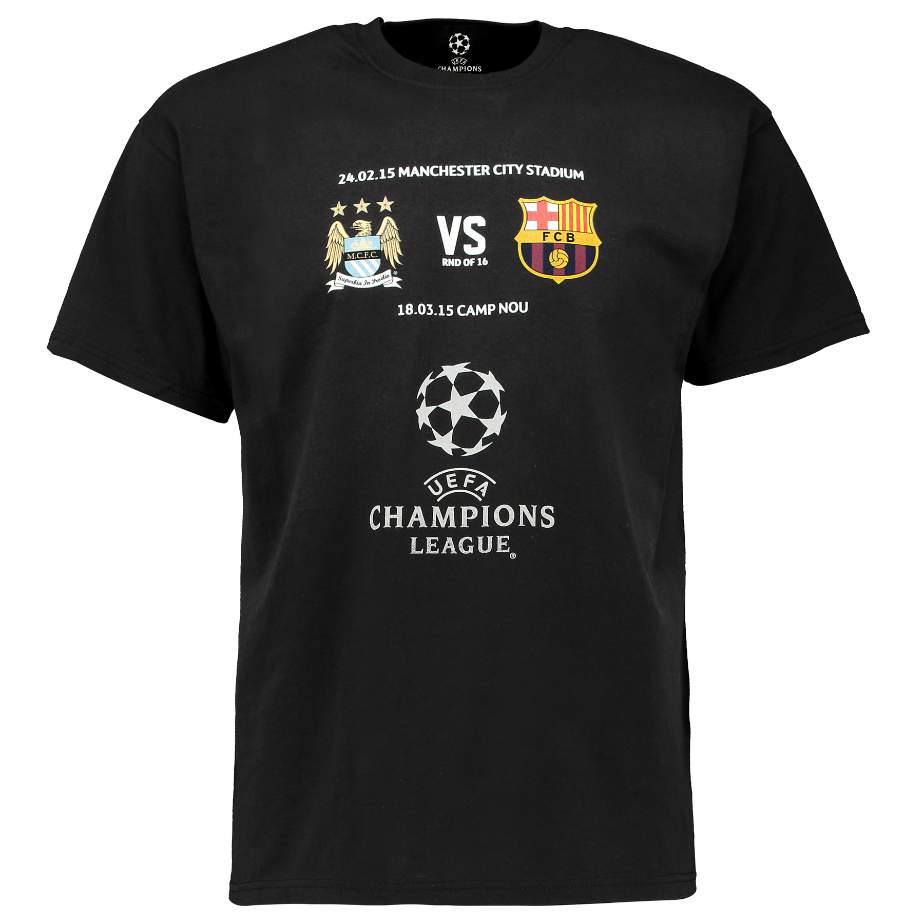 Manchester City UCL FCB T-Shirt - Black - Adult