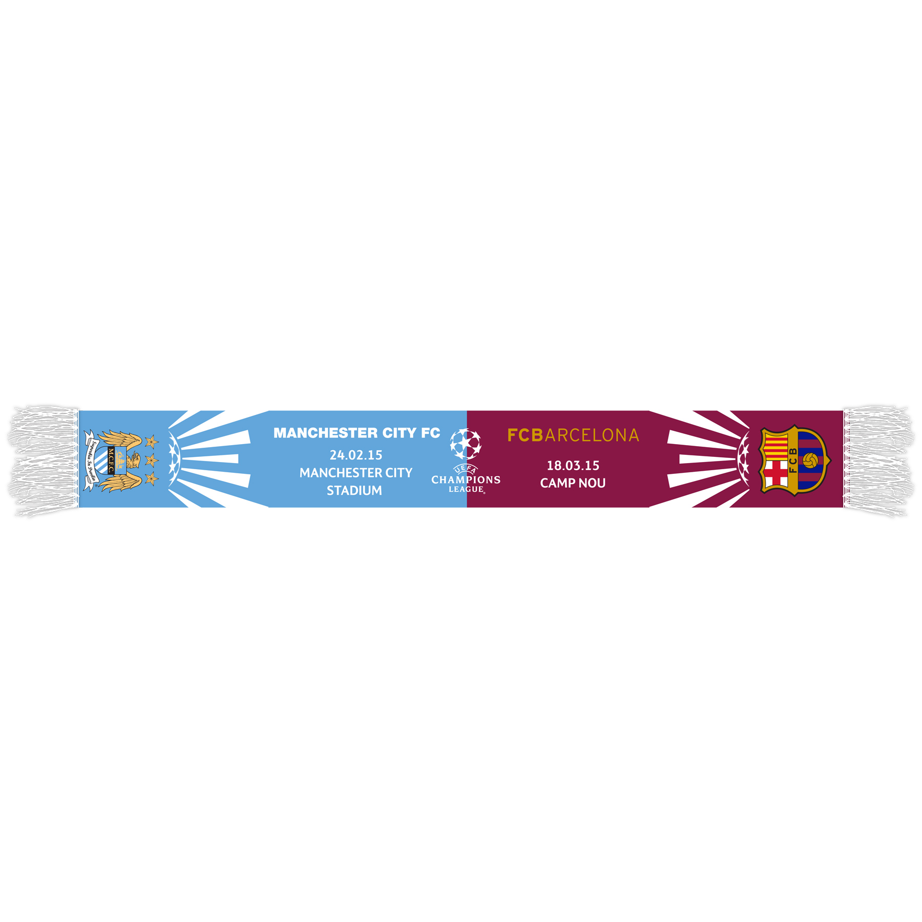 Manchester City UCL FCB Friendship Scarf - Sky/Maroon