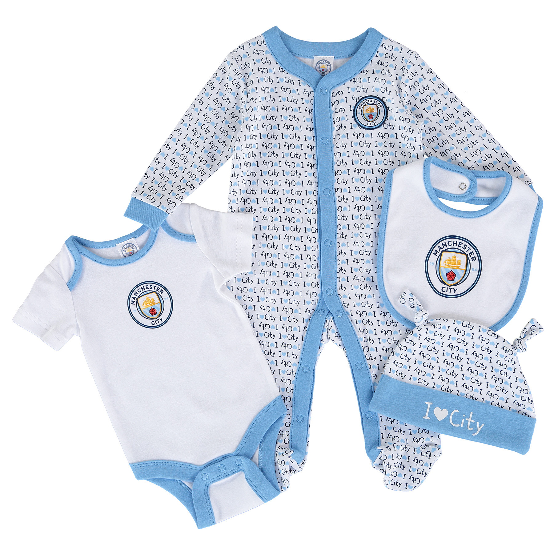 Manchester City 4 Piece Set - Sky/White - Baby
