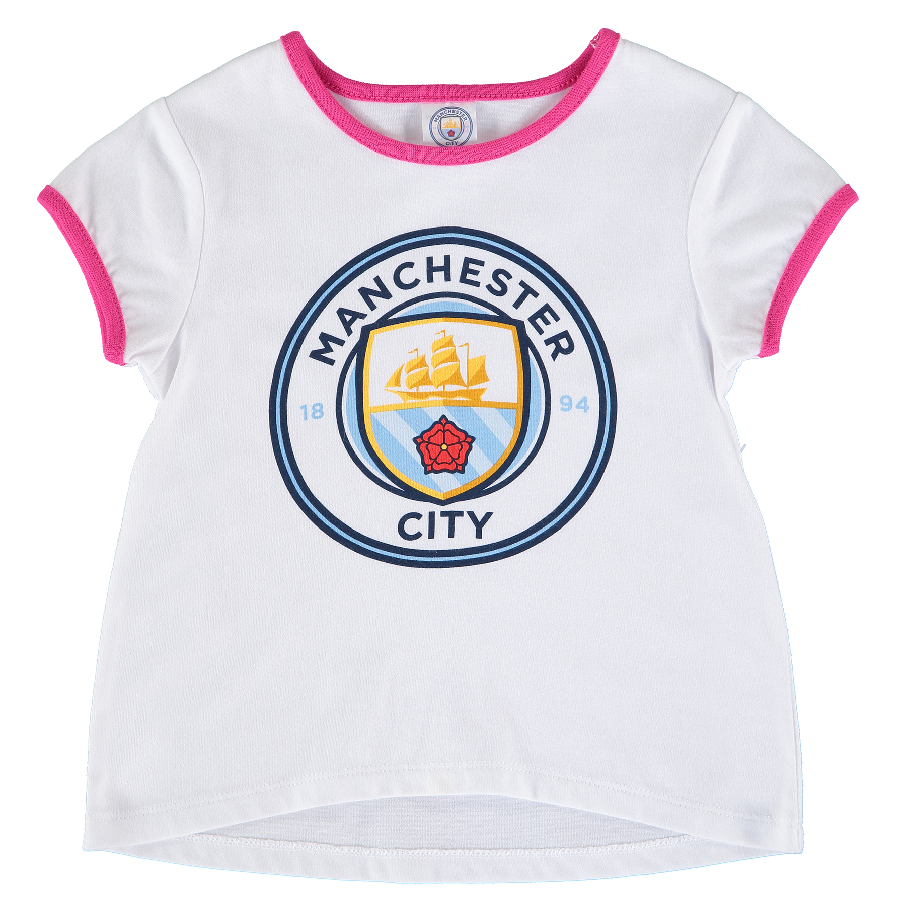 Manchester City Crest T-Shirt - White/Pink - Baby