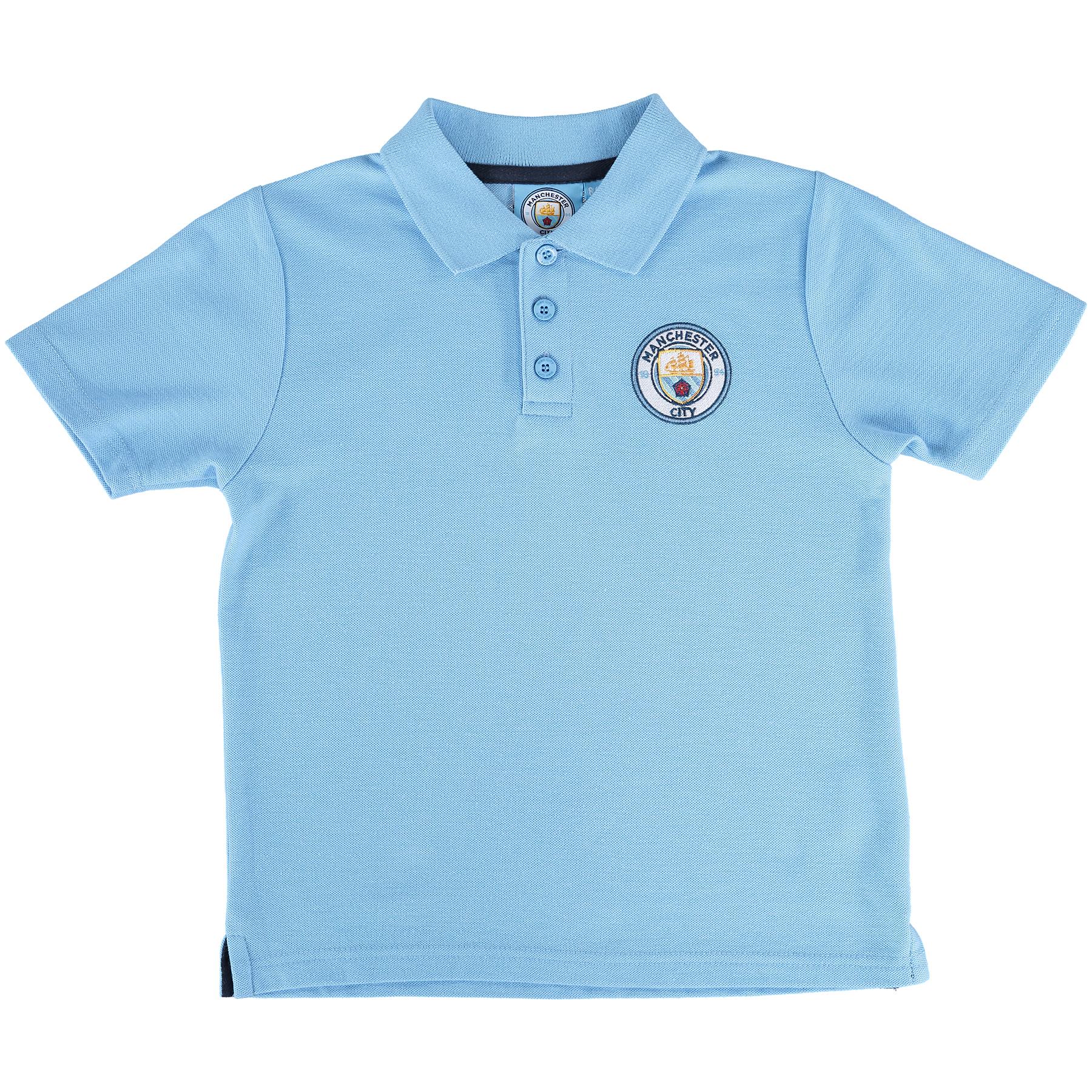 Manchester City Core Crest Polo Shirt - Sky - Junior