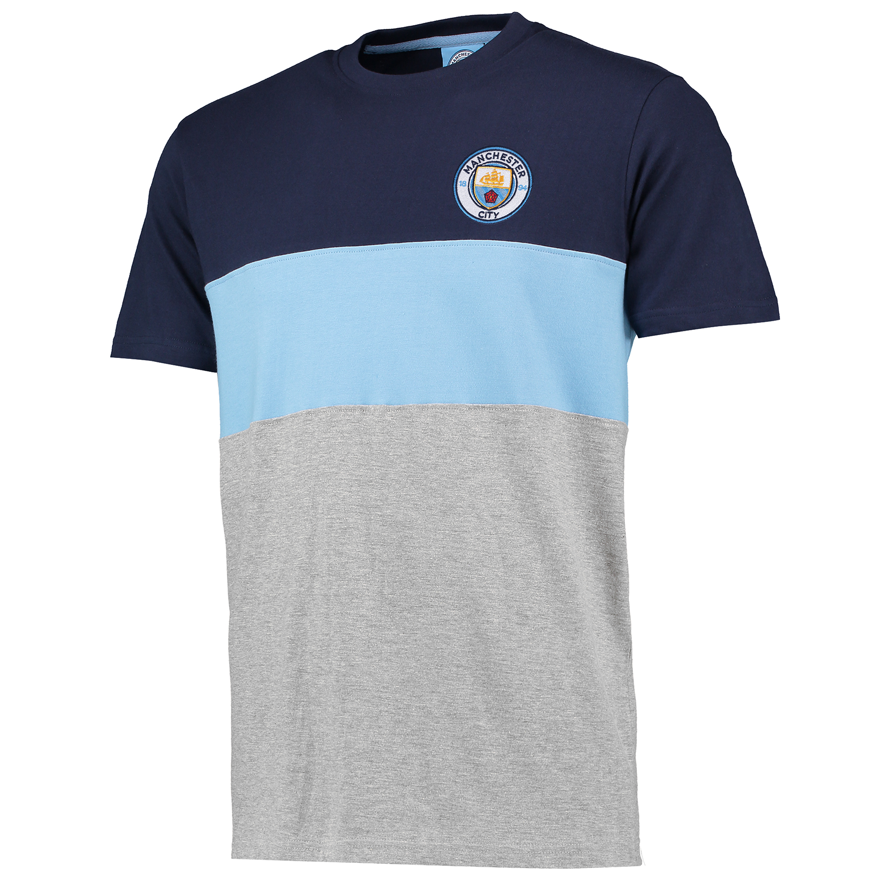 Manchester City Classic Block T-Shirt - Grey/Navy/Sky