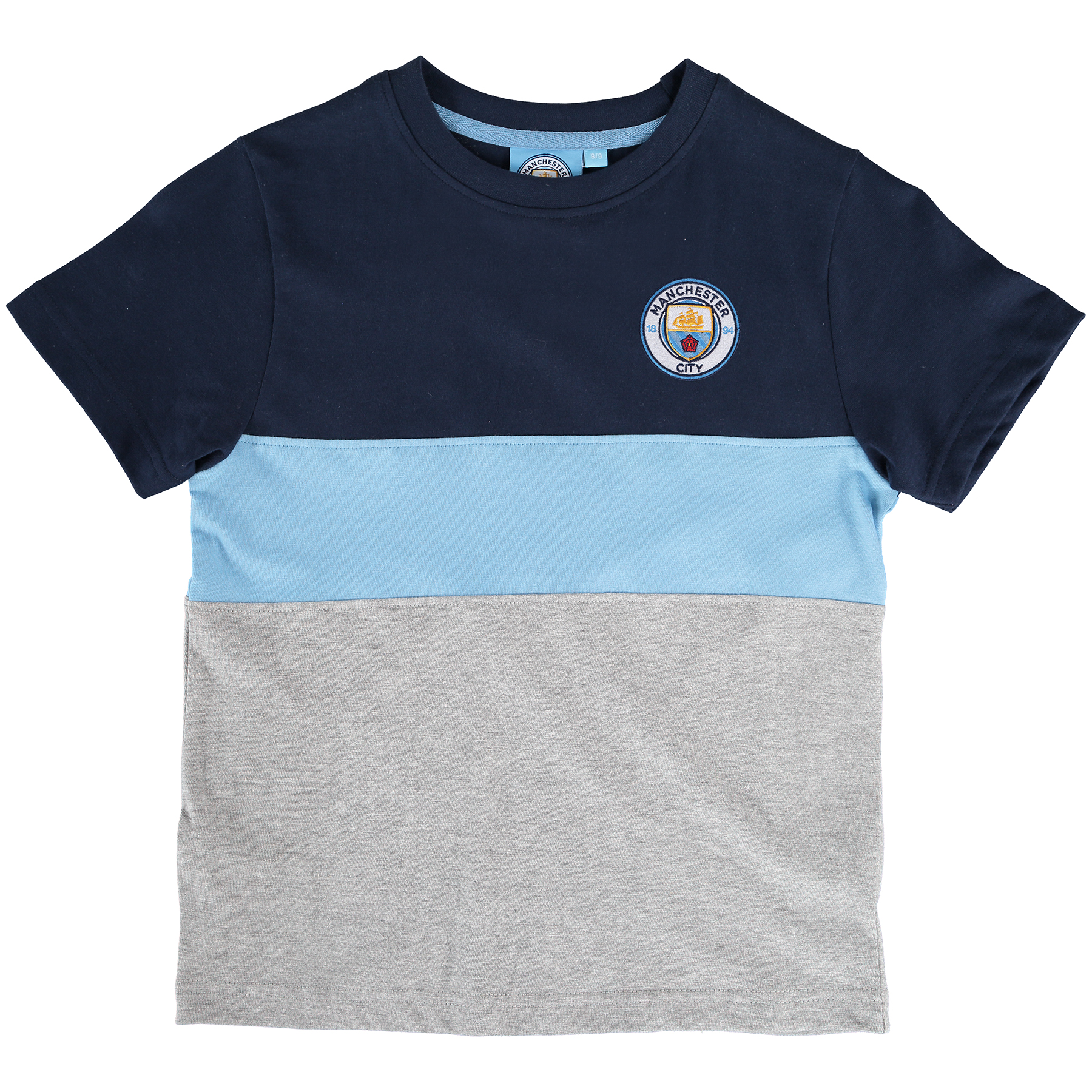 Manchester City Classic Block T-Shirt - Grey/Navy/Sky - Junior