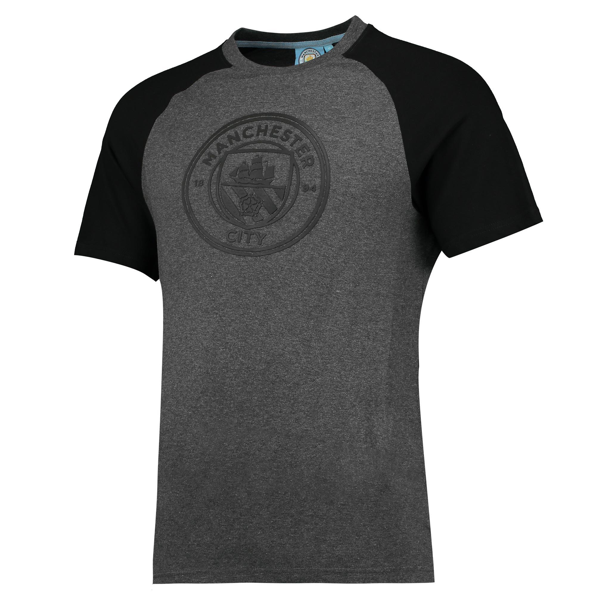 Manchester City Classic Raglan T-Shirt - Grey/Black
