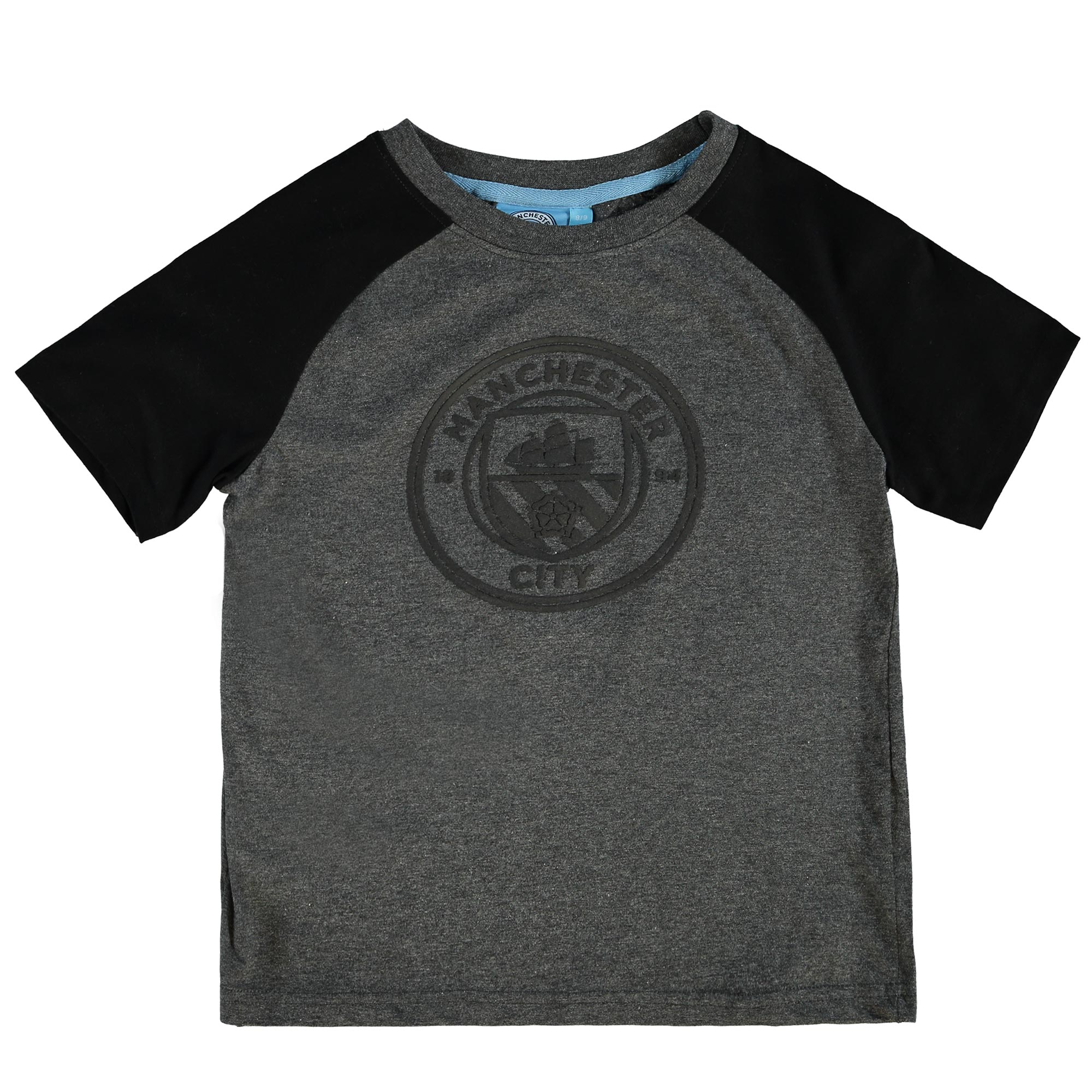 Manchester City Classic Raglan T-Shirt - Grey/Black - Junior