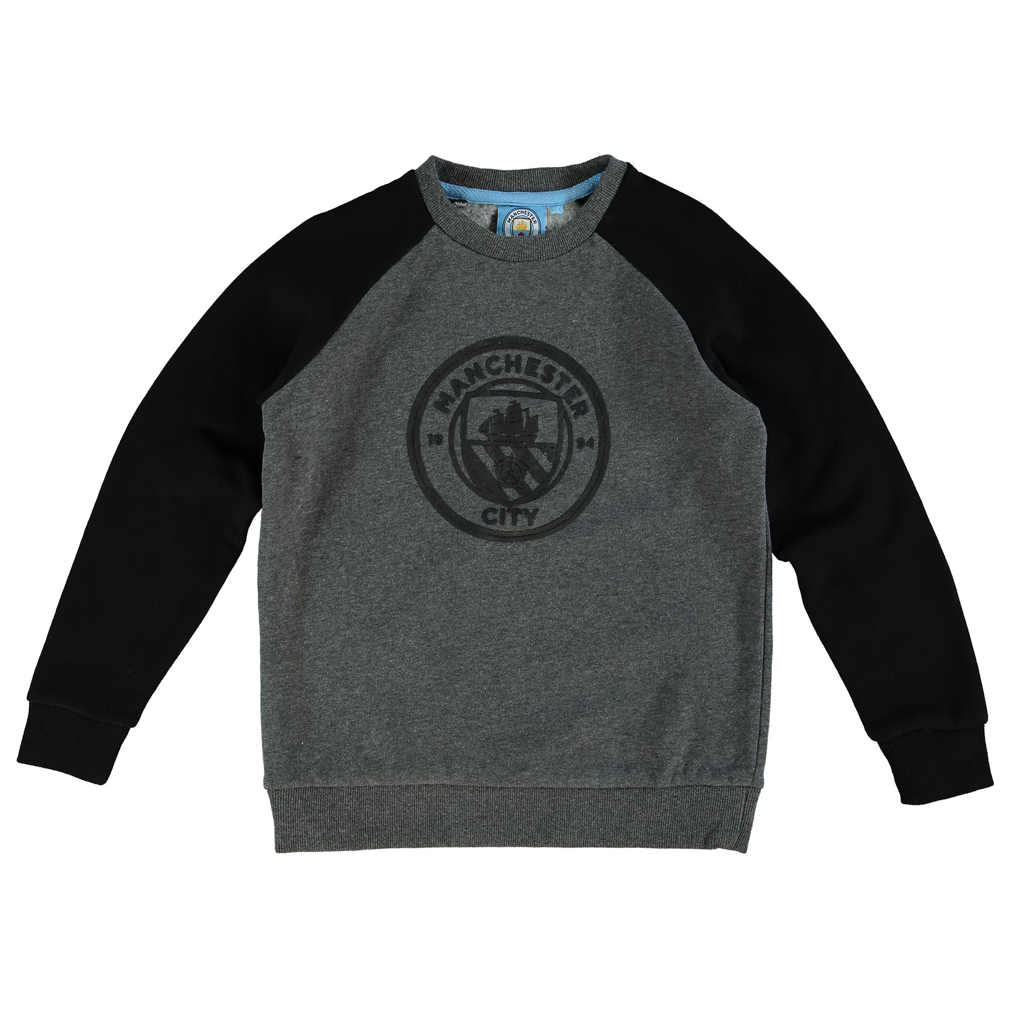 Manchester City Classic Raglan Sweatshirt - Grey/Black - Junior