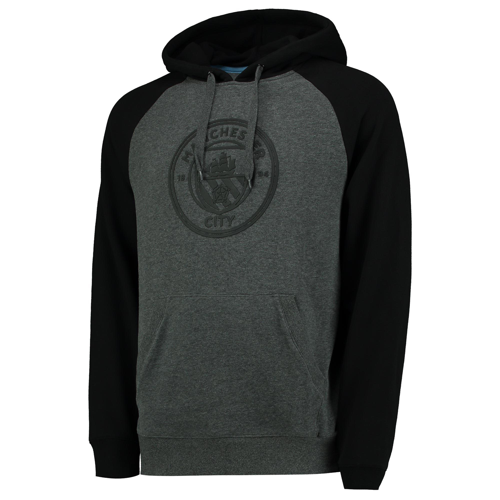 Manchester City Classic OTH Raglan Hoodie - Grey/Black