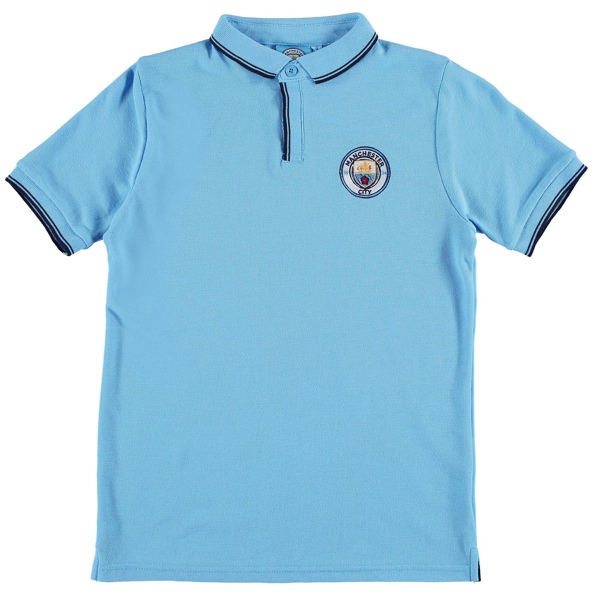 Manchester City Classic Slim Fit Polo Shirt - Sky - Junior