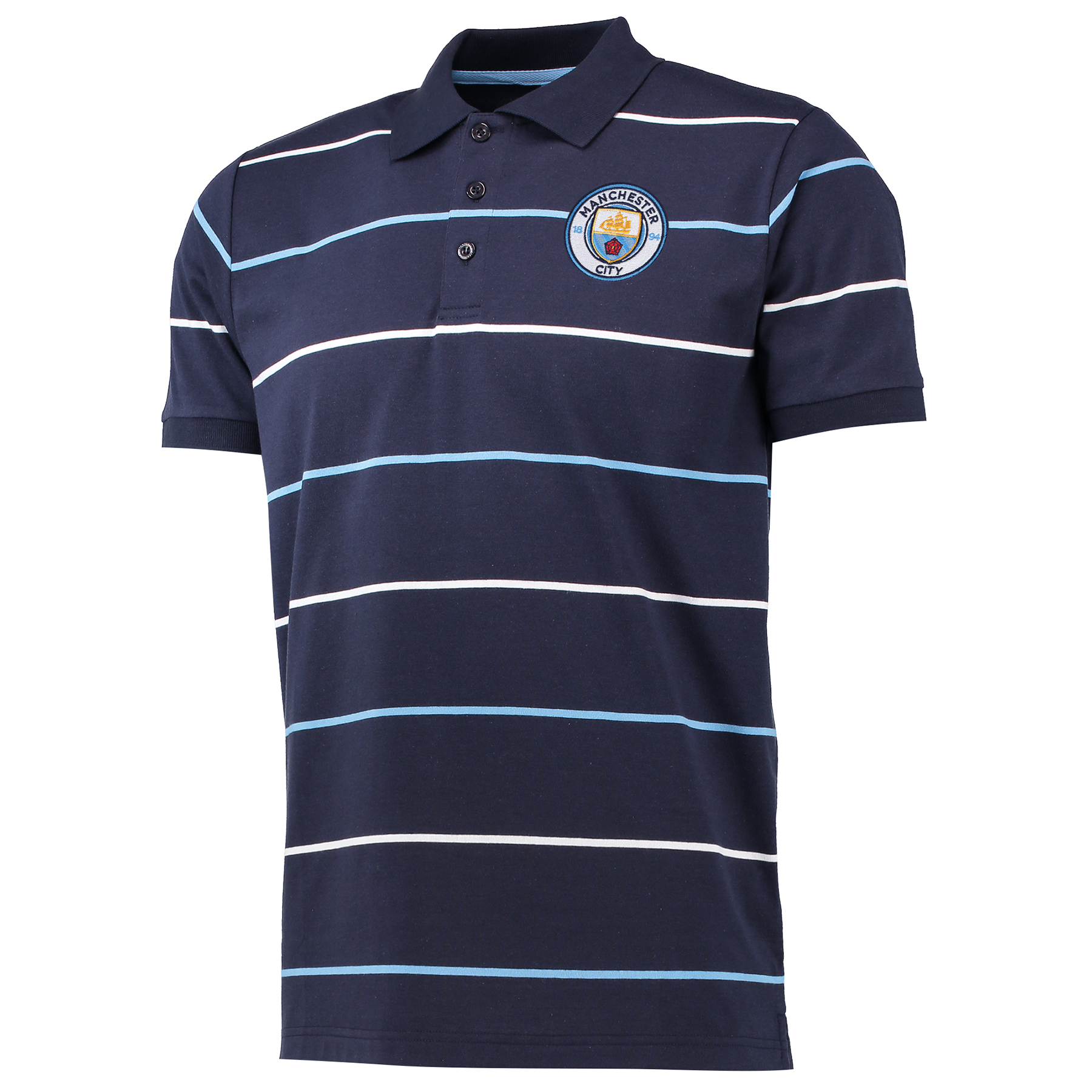 Manchester City Classic Stripe Polo Shirt - Navy