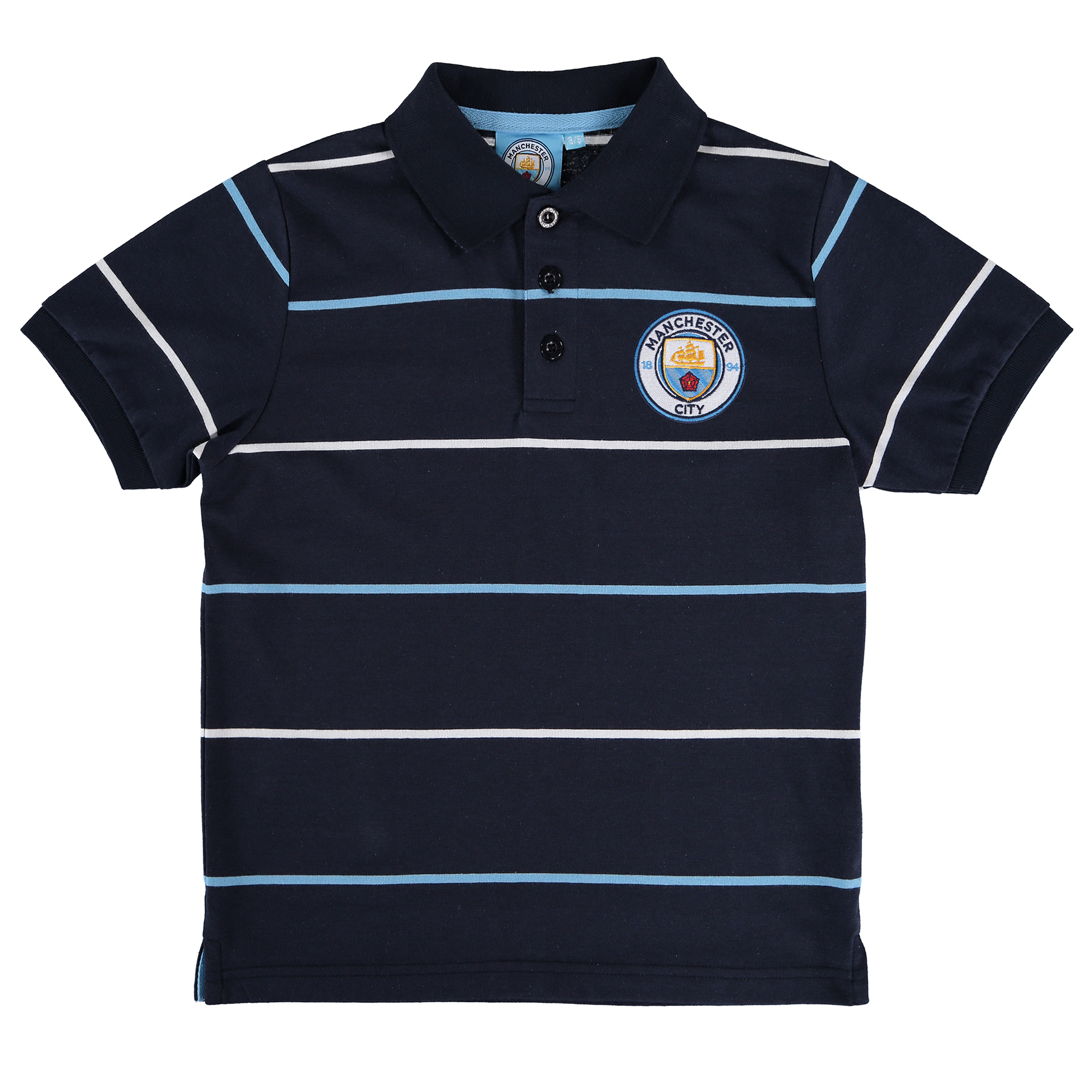 Manchester City Classic Stripe Polo Shirt - Navy - Junior